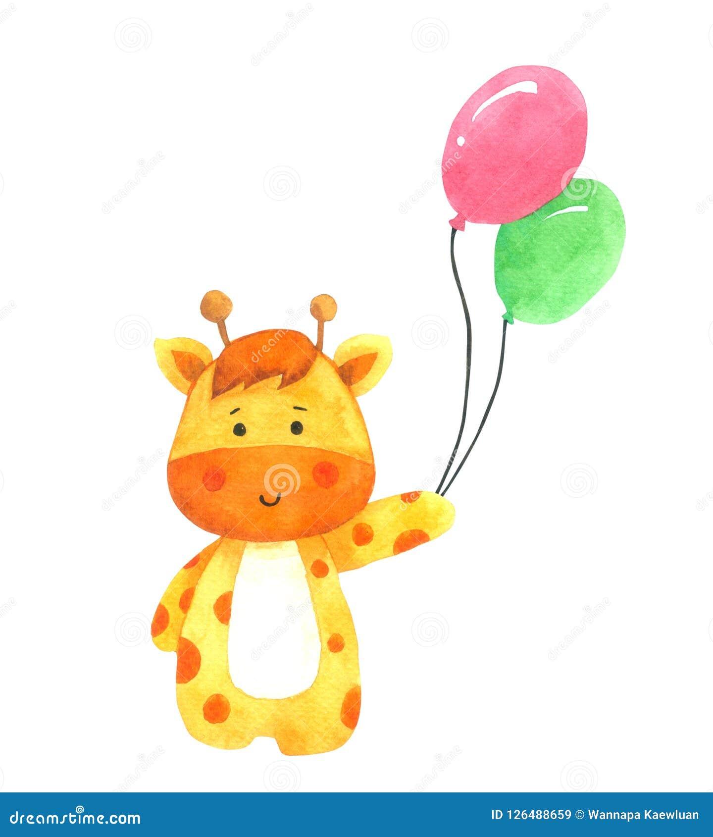 Giraffe Holding Balloon Cartoon Watercolor On White Background