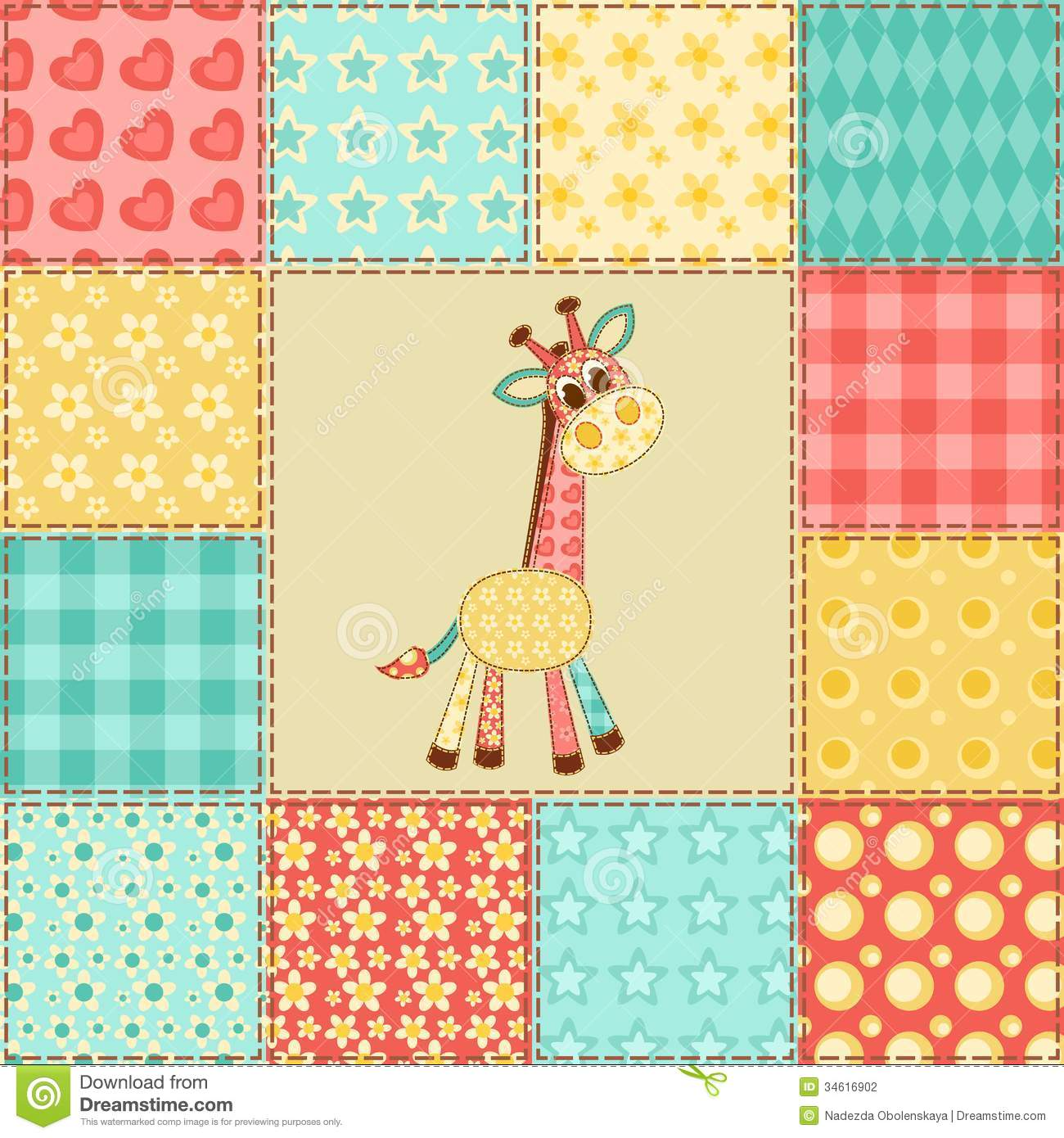 Giraffe Patchwork Pattern Stock Photography Image 34616902
