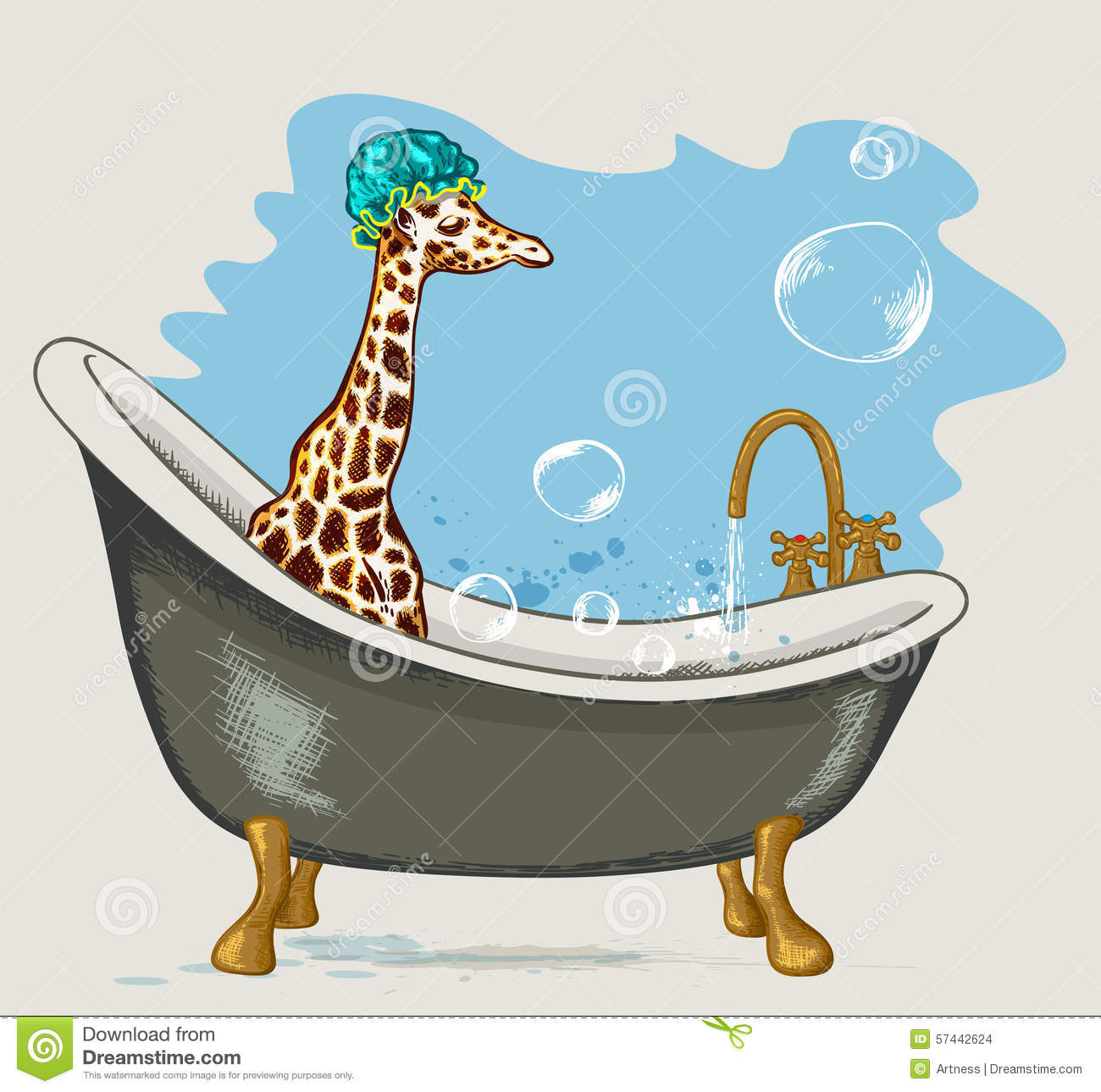 Giraffe Sitting In The Bathroom Stock Vector