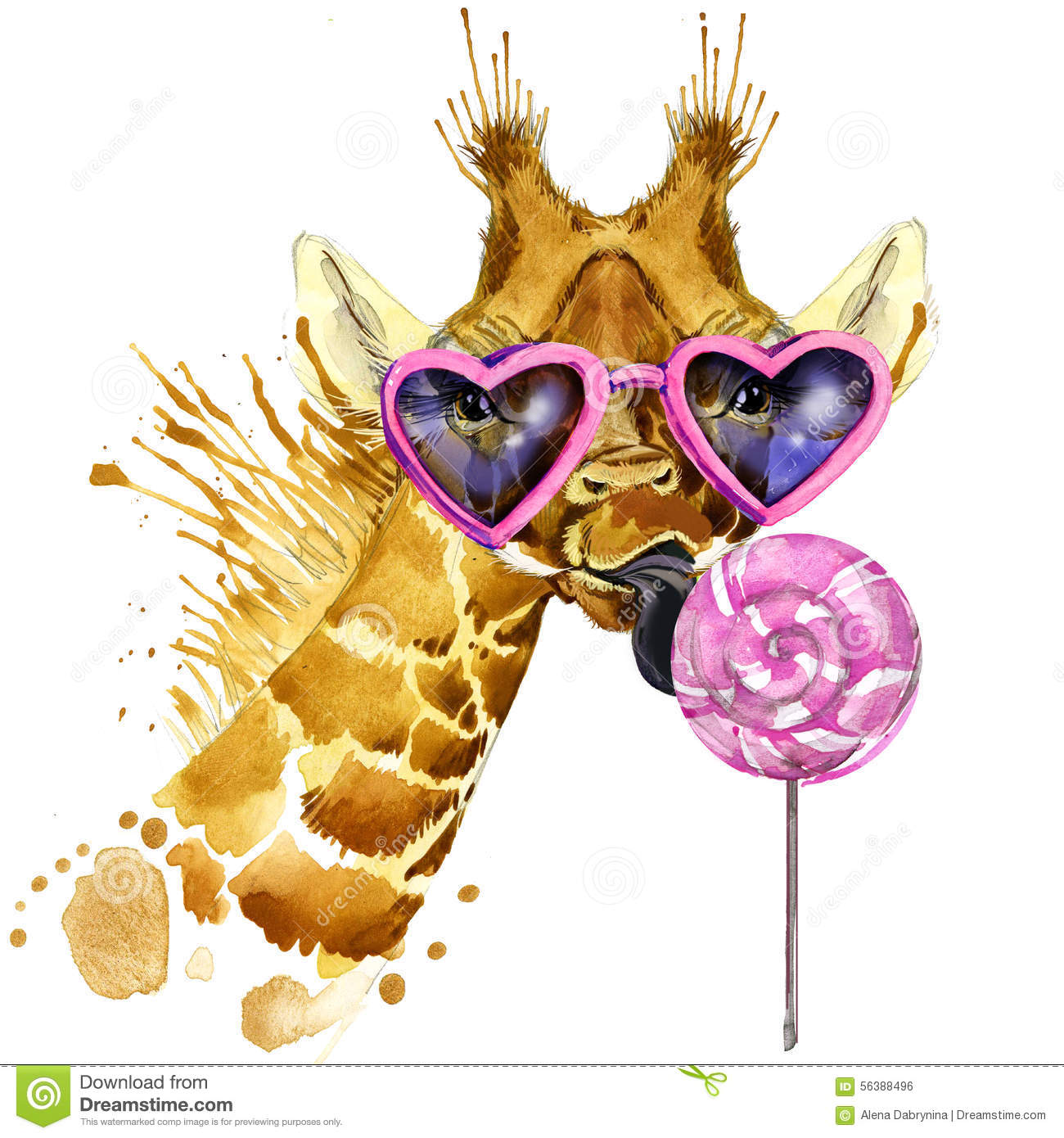 Giraffe T-shirt graphics, giraffe and sweet candy illustration with splash watercolor textured background. unusual illustration wa
