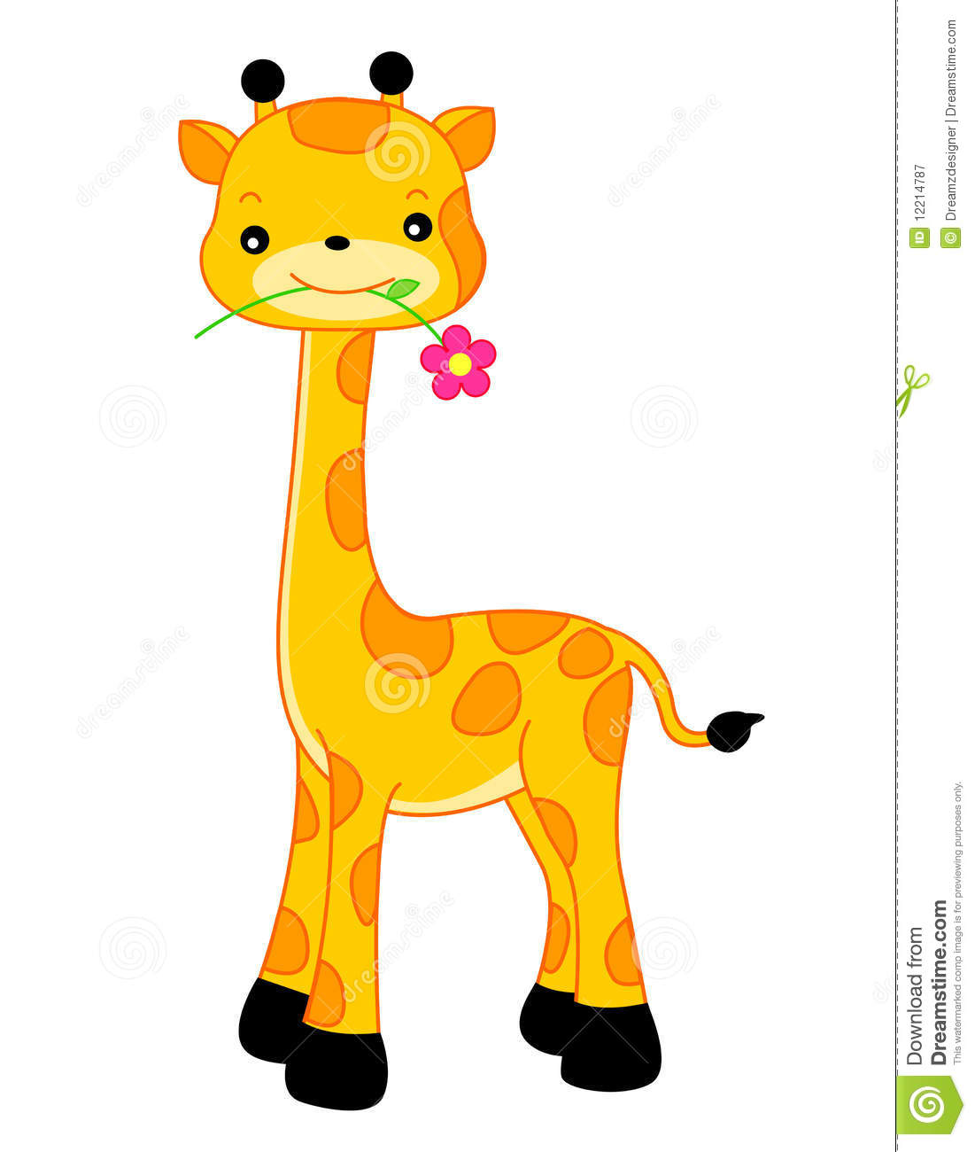 Cute Playful Giraffe With A Flower On Its Mouth Isolated White