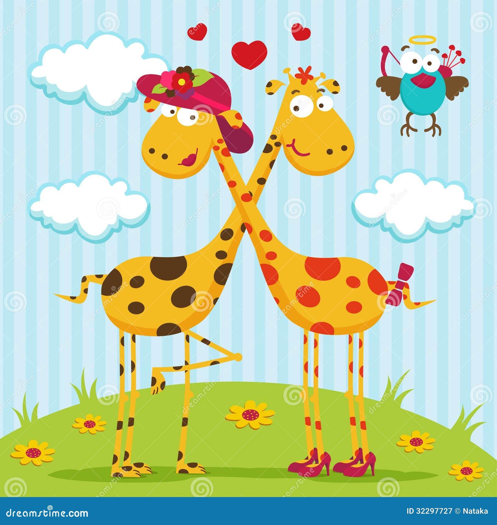 Giraffes boy, girl and bird