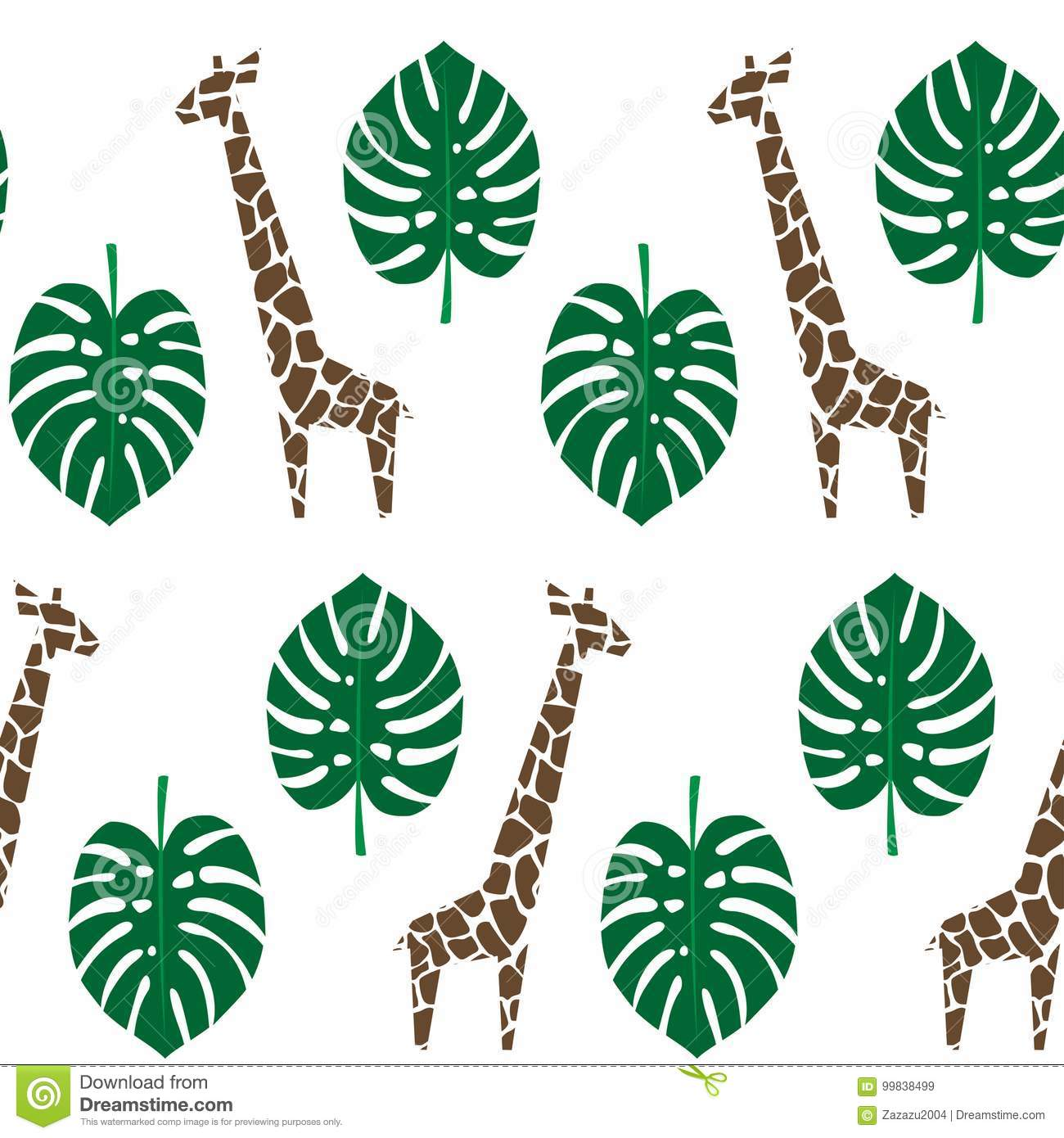 Giraffes and palm leaves seamless pattern on white background