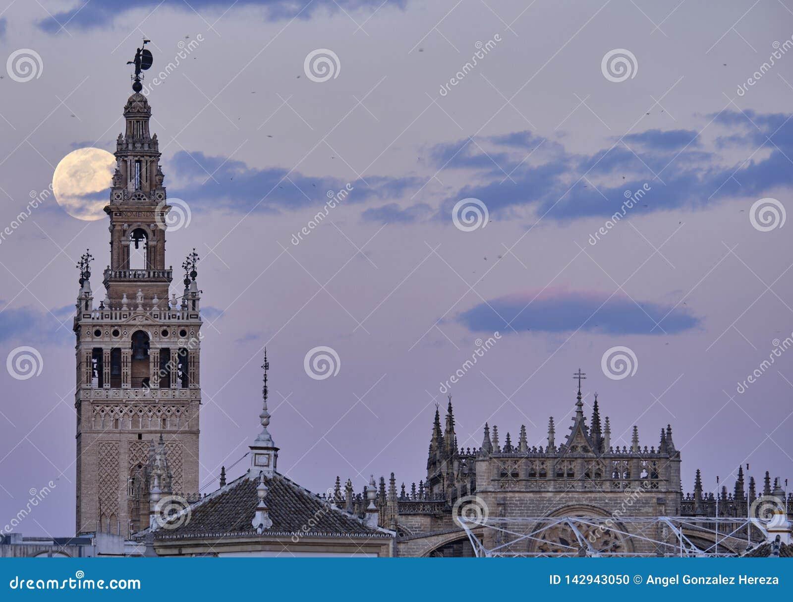 Giralda De Sevilla nachts mit großem Mond