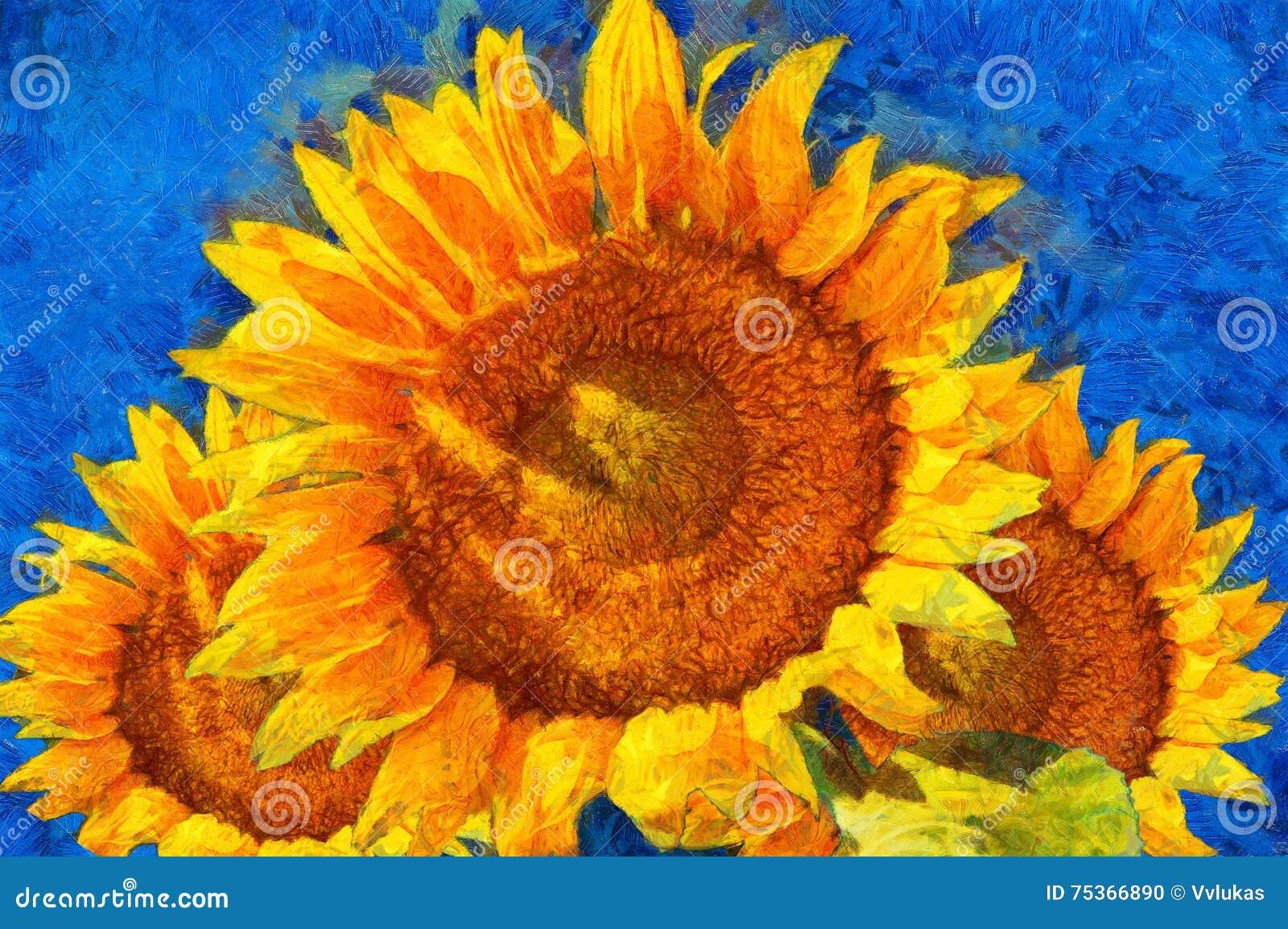 Matrimonio Girasoli Van Gogh : Girasoli imitazione di stile van gogh illustrazione