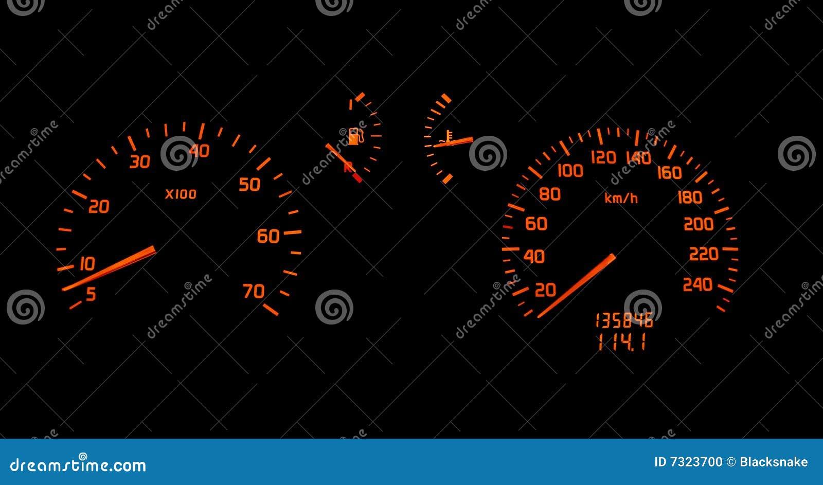 Girata del cruscotto dell automobile e tester di velocità