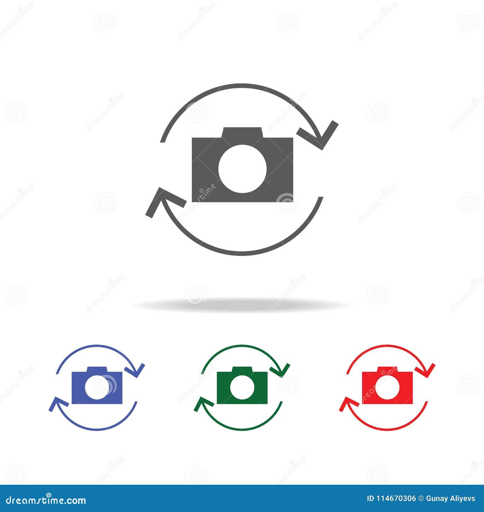 Giri l icona della macchina fotografica Elementi della macchina fotografica della foto nelle multi icone colorate Icona premio di