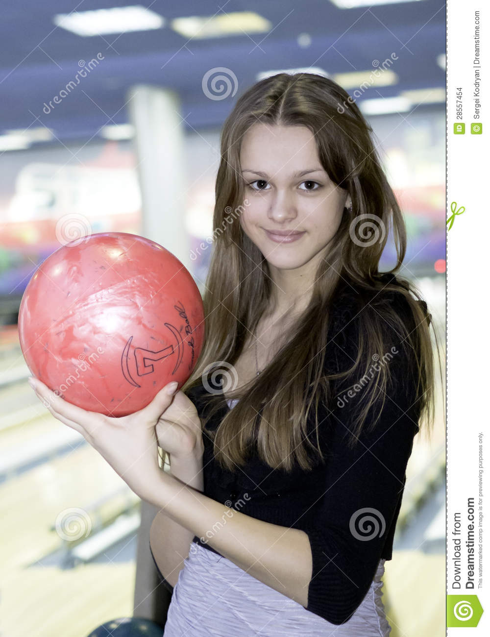 Girl With 10 Pin Bowling Ball Stock Images Image 28557454