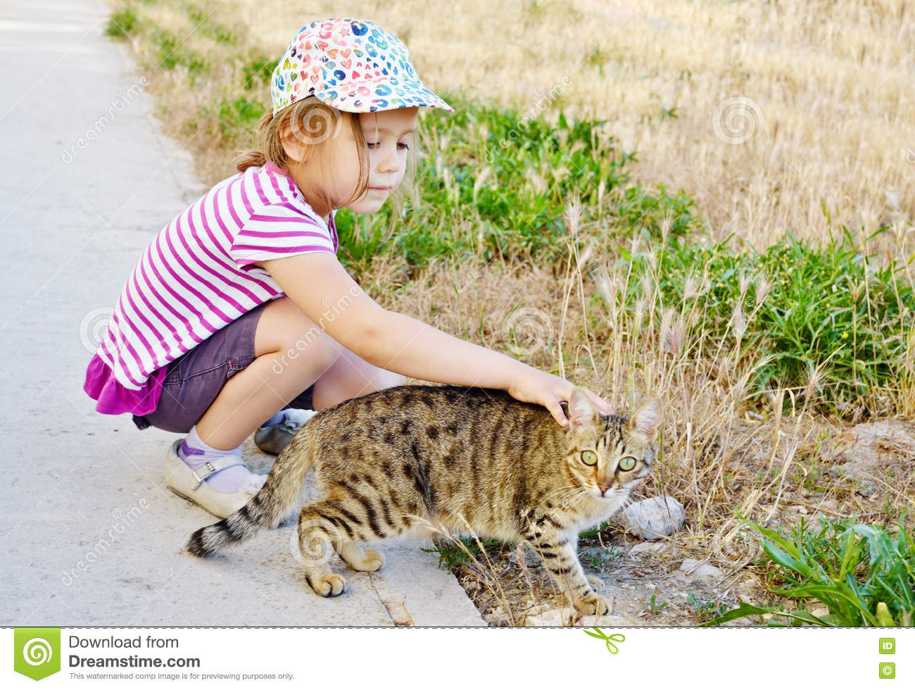 Girl and alley cat
