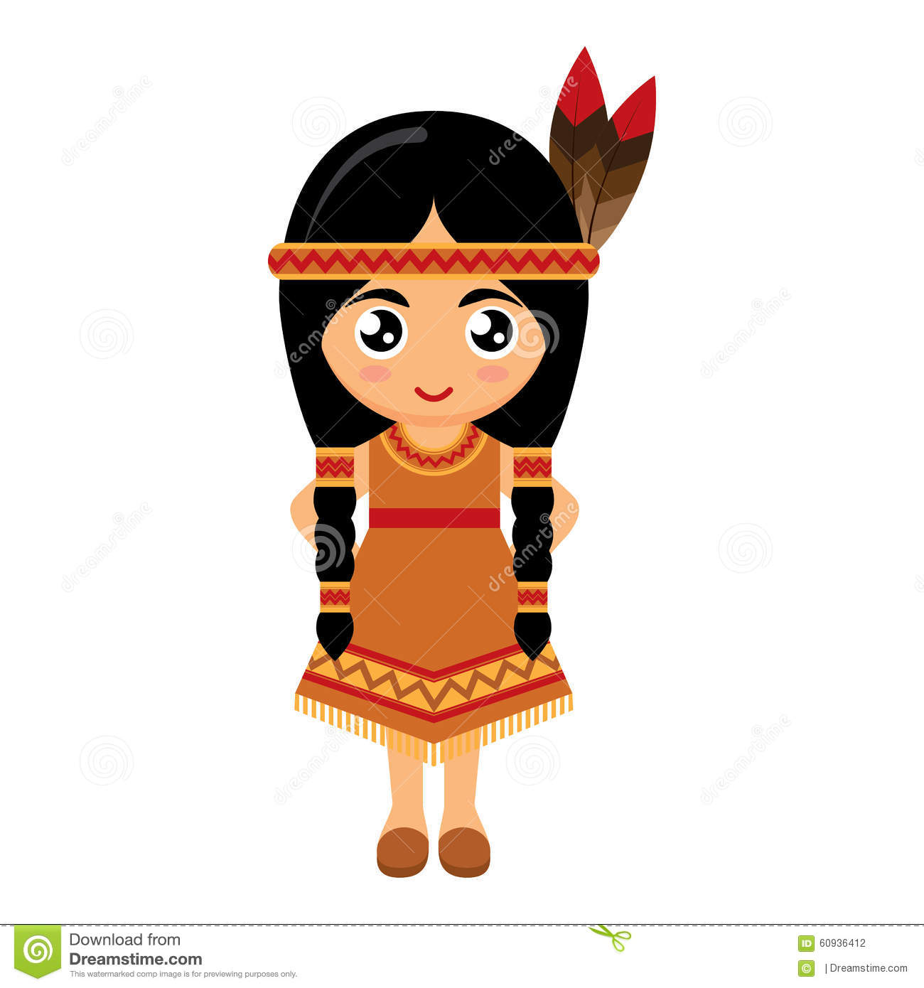 Vector Illustration Of Cute Red Indian. Cartoon American Indians ...