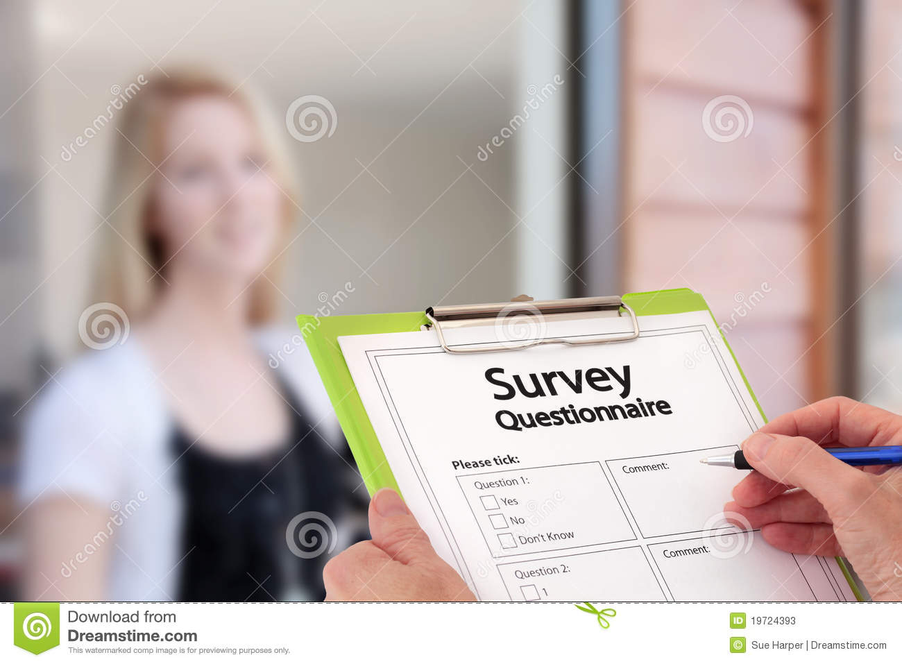 Girl Answering Market Research Survey Questions Stock