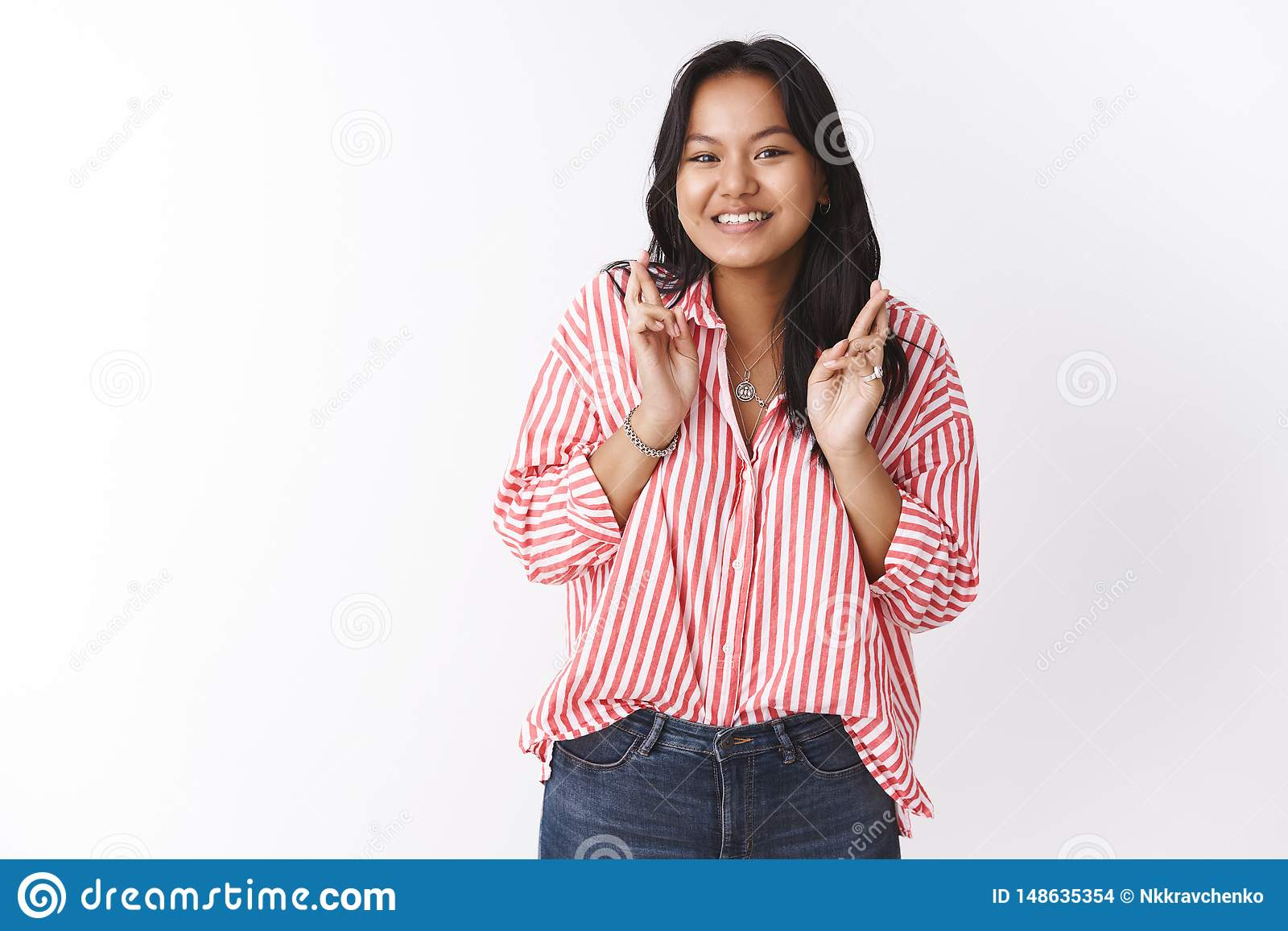 Girl Anticipating With Excitement For Valentines Day Cross Fingers