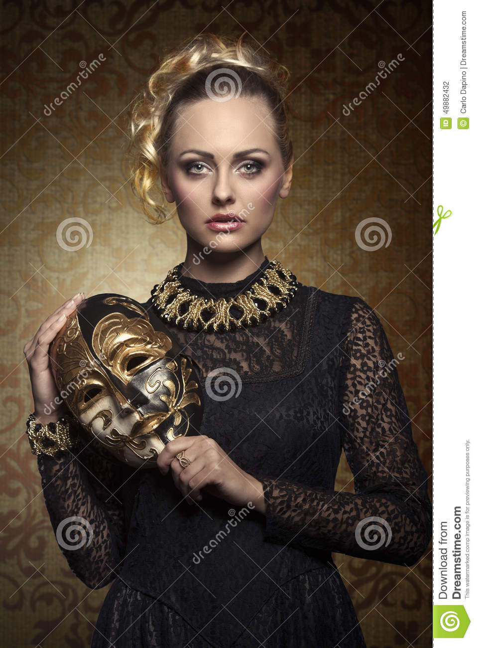 Girl With Aristocratic Lady Mask Stock Photo Image 49882432