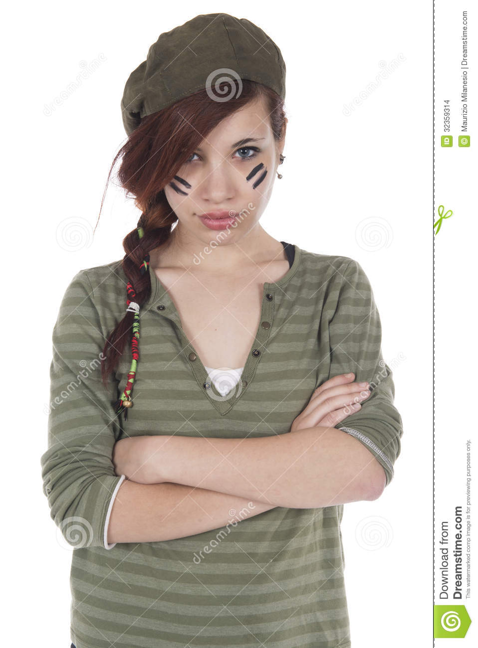 Girl With Arms Crossed Dressed As A Mercenary Stock Images ...