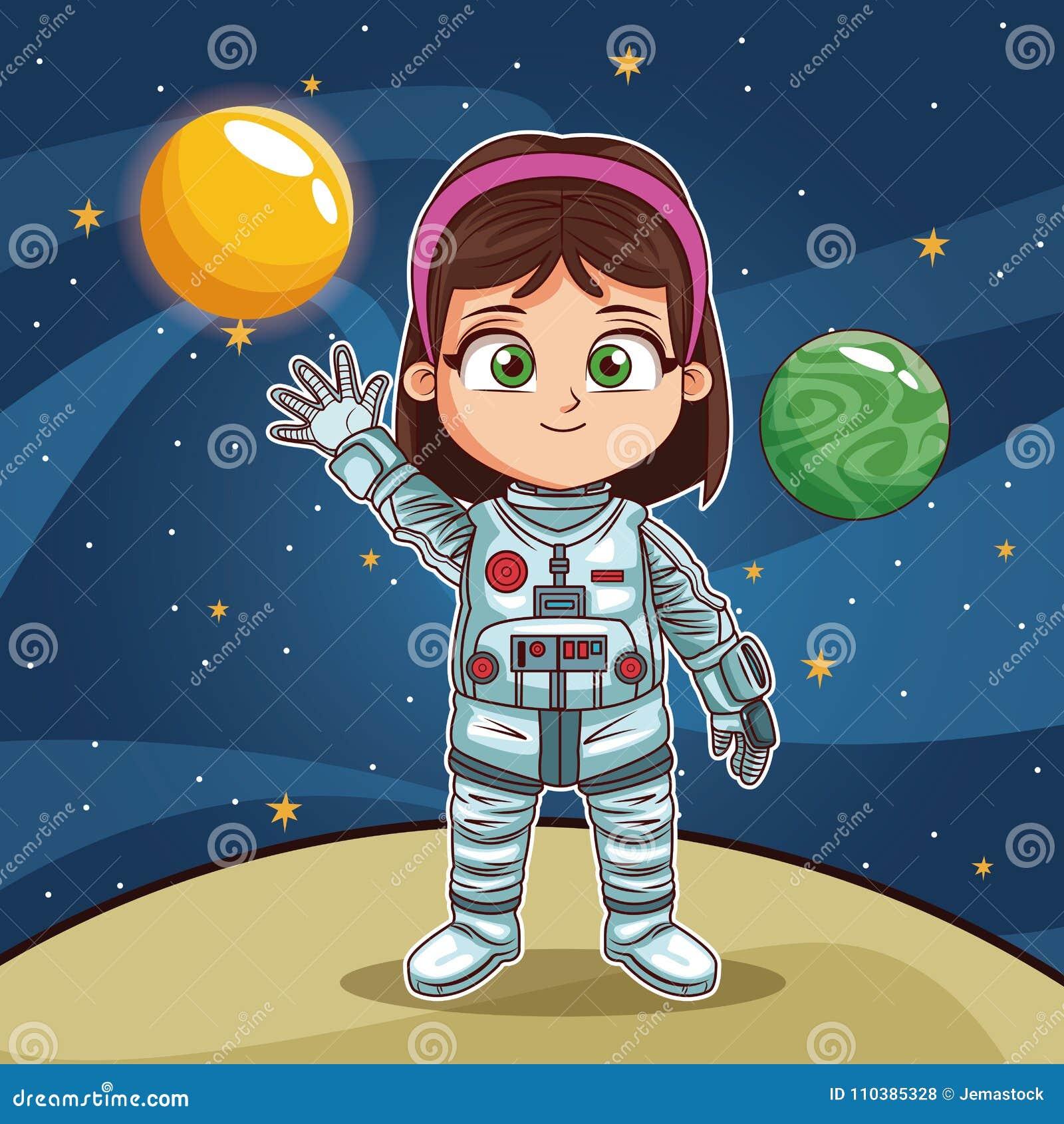 Girl Astronaut On Planet Cartoon Stock Vector Illustration Of