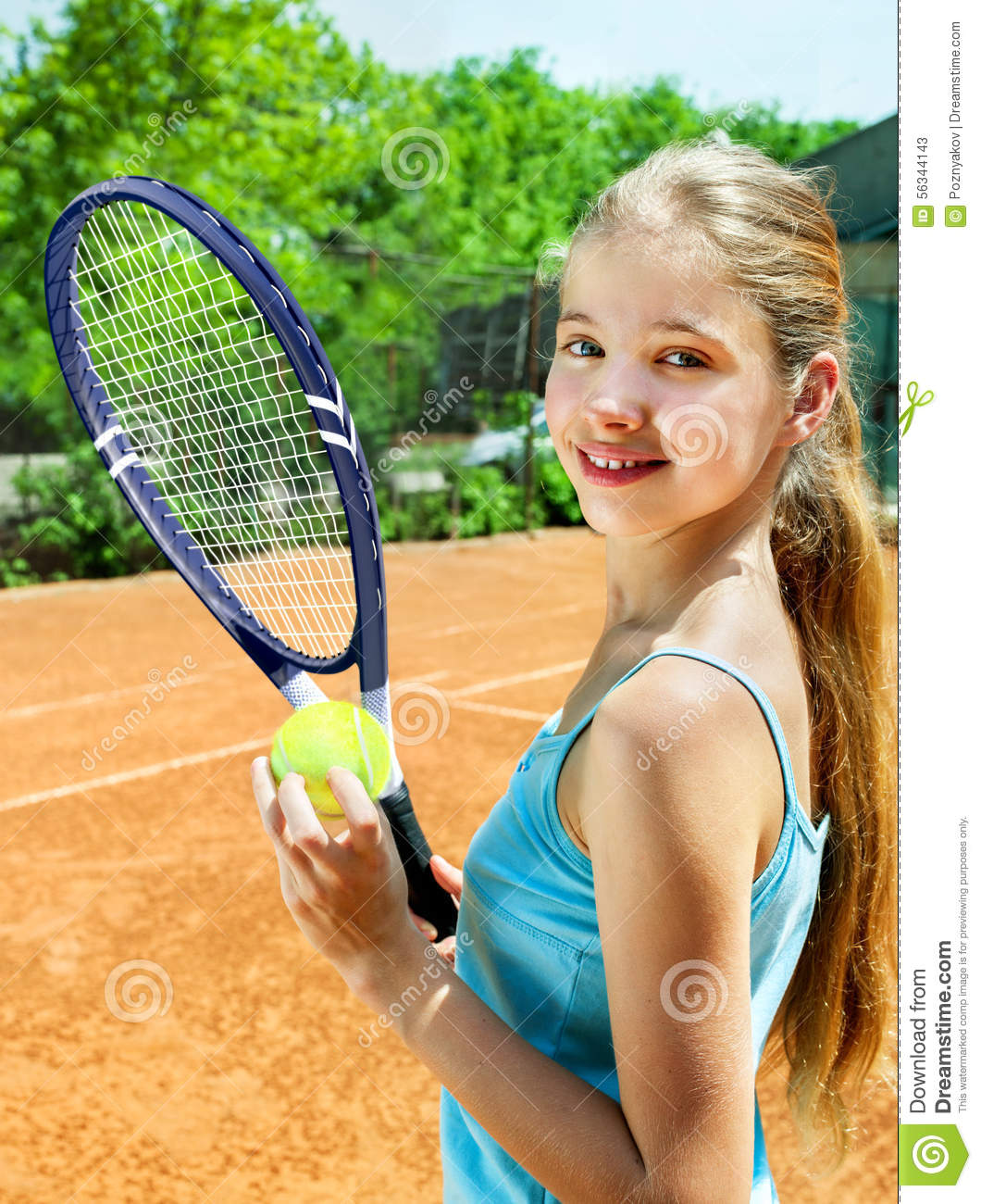 Girl Athlete With Racket And Ball On Tennis Stock Photo -3104