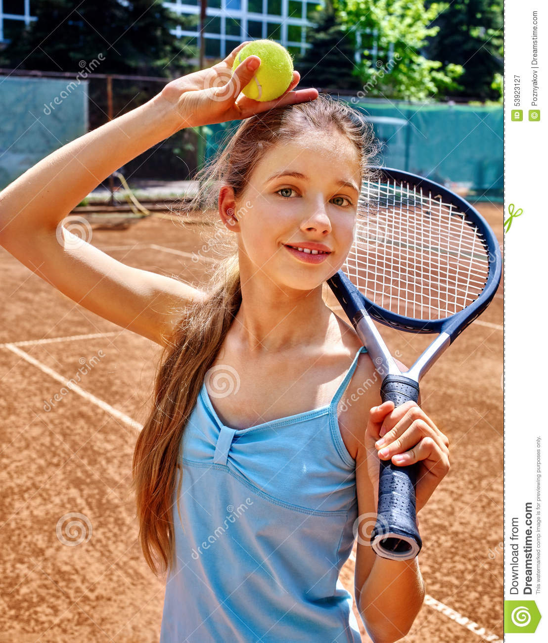 Girl Athlete With Racket And Ball On Tennis Stock Image -8911