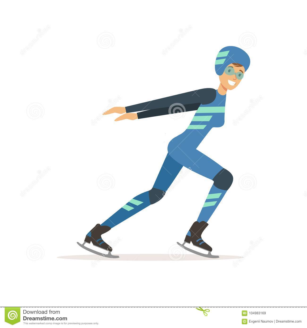 Girl athlete taking part in speed skating competition. Winter olympic sport. Woman in professional outfit glasses