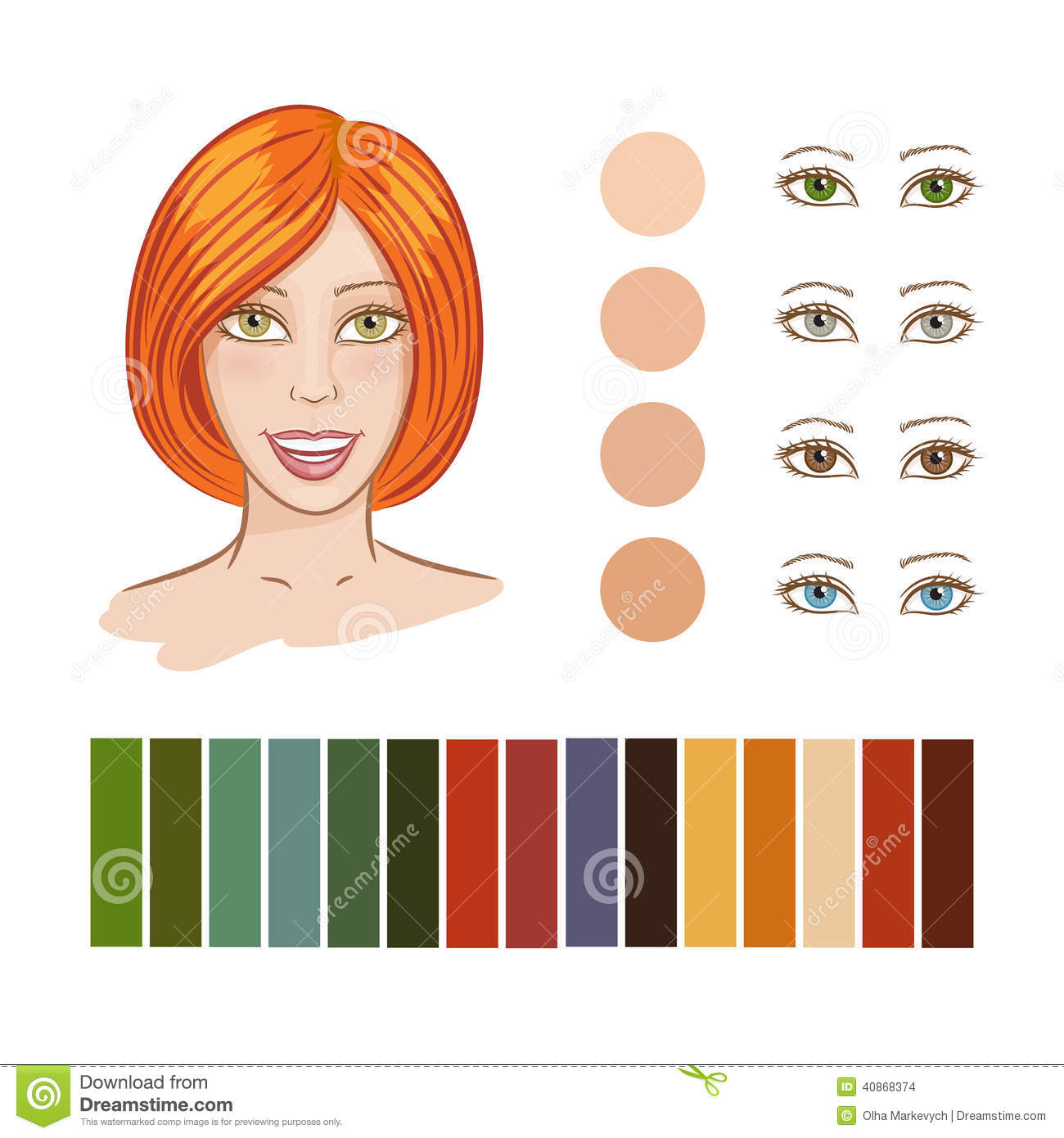 Girl Autumn Color Type Stock Vector Image 40868374