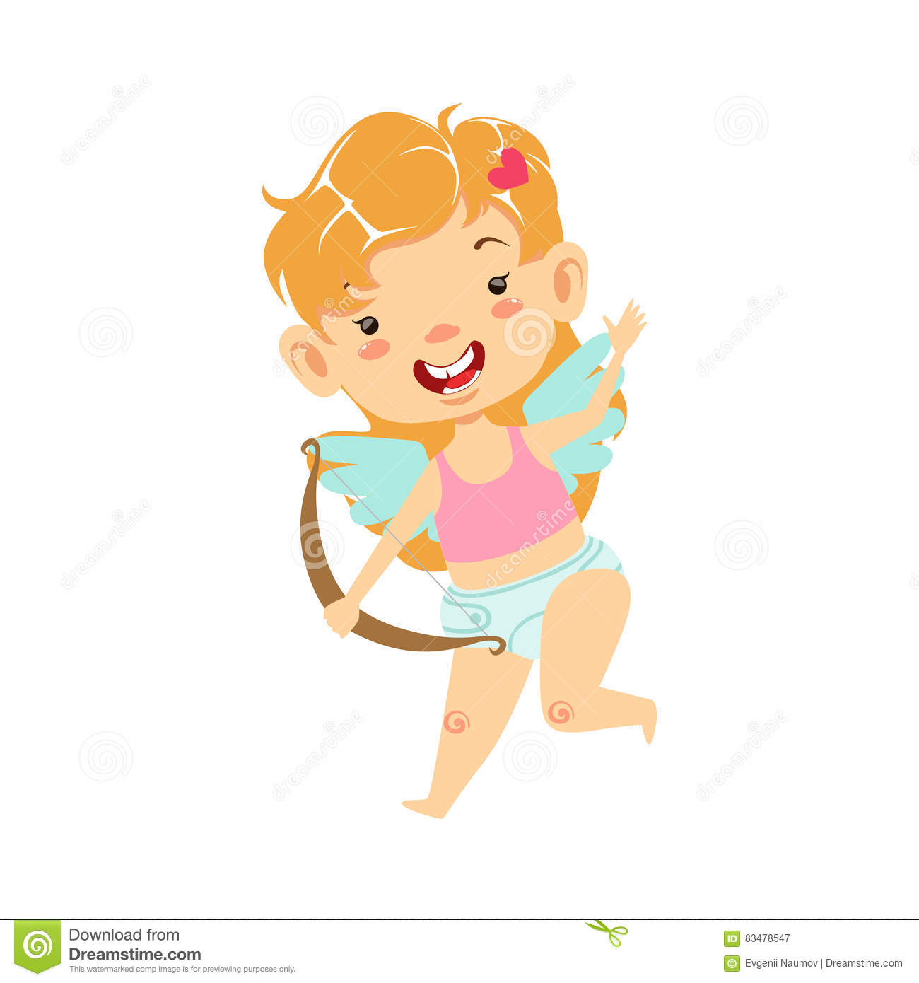 Girl Baby Cupid With Bow Winged Toddler In Diaper Adorable Love
