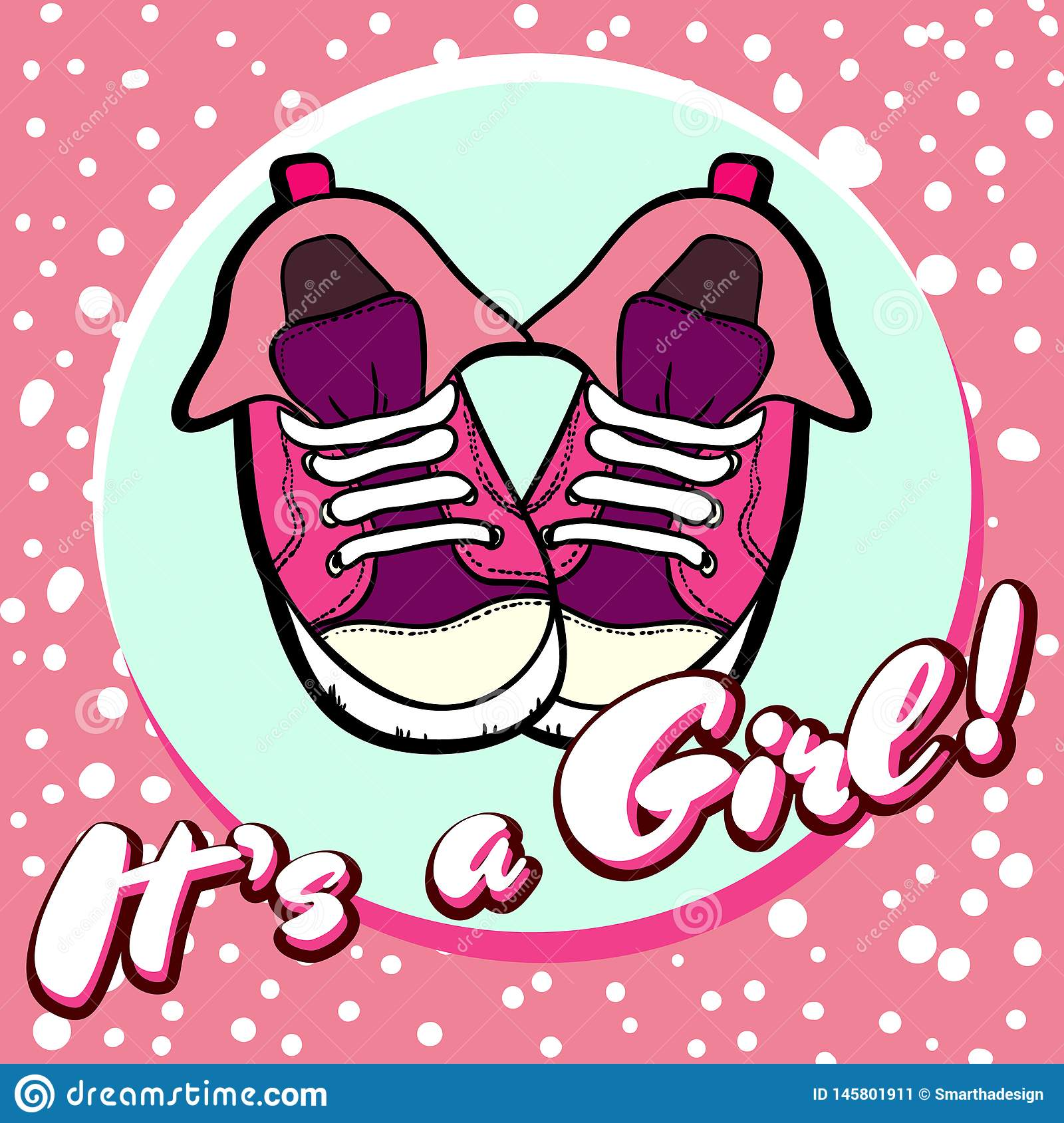 Girl baby shower congratulations vector postcard. Baby announcement in pink. It`s a girl with children shoes in circle.