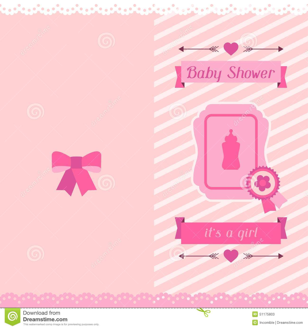 girl baby shower invitation card stock vector image 51175803