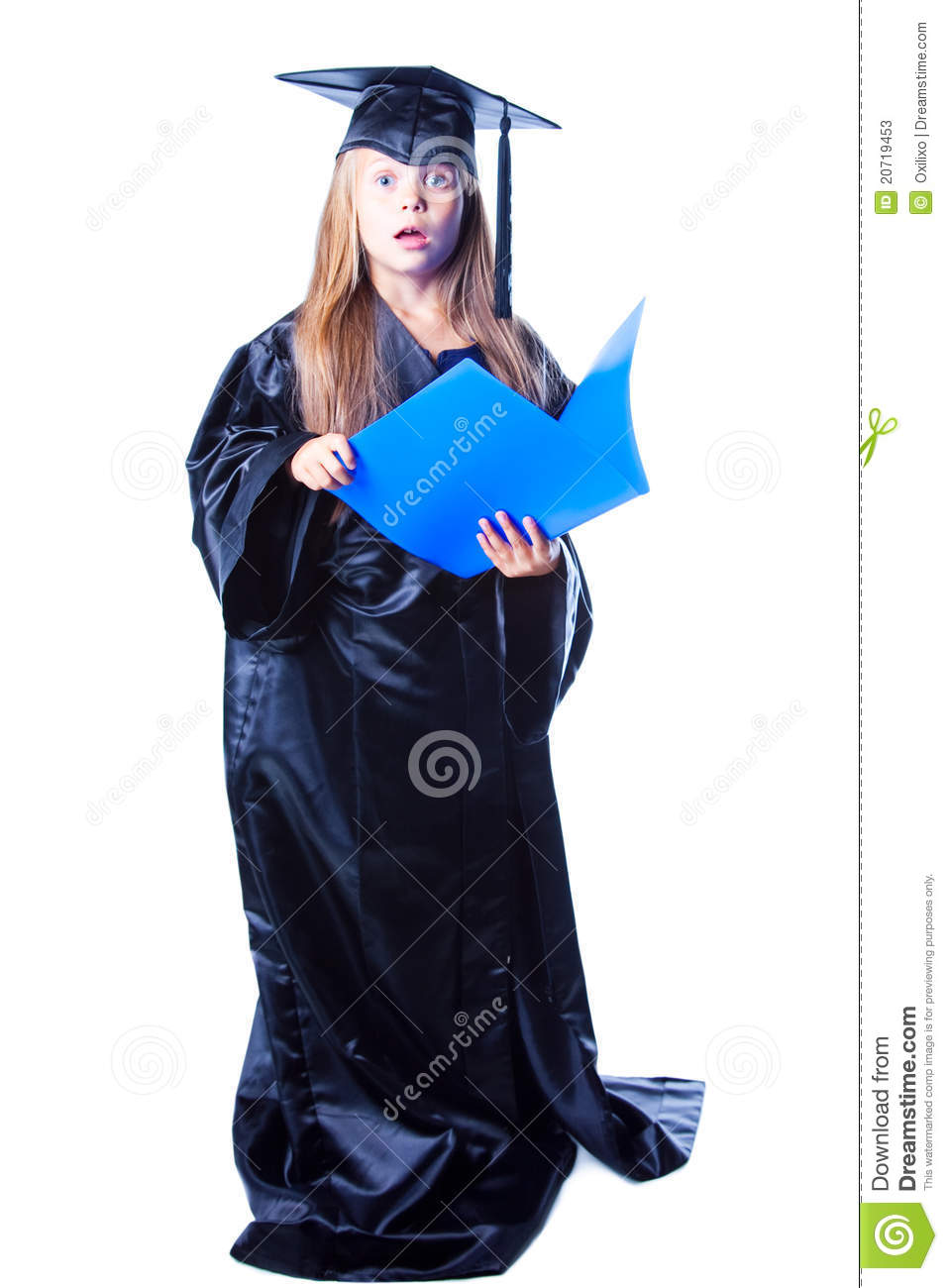Girl With Bachelor Hat And Graduation Gown Stock Image - Image of ...