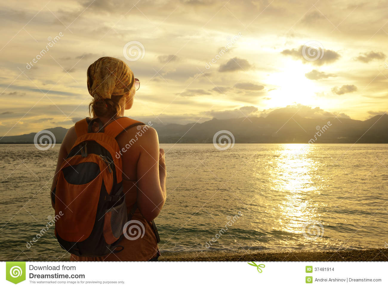 Girl With A Backpack Dreams Of Travel Stock Images - Image: 37481914