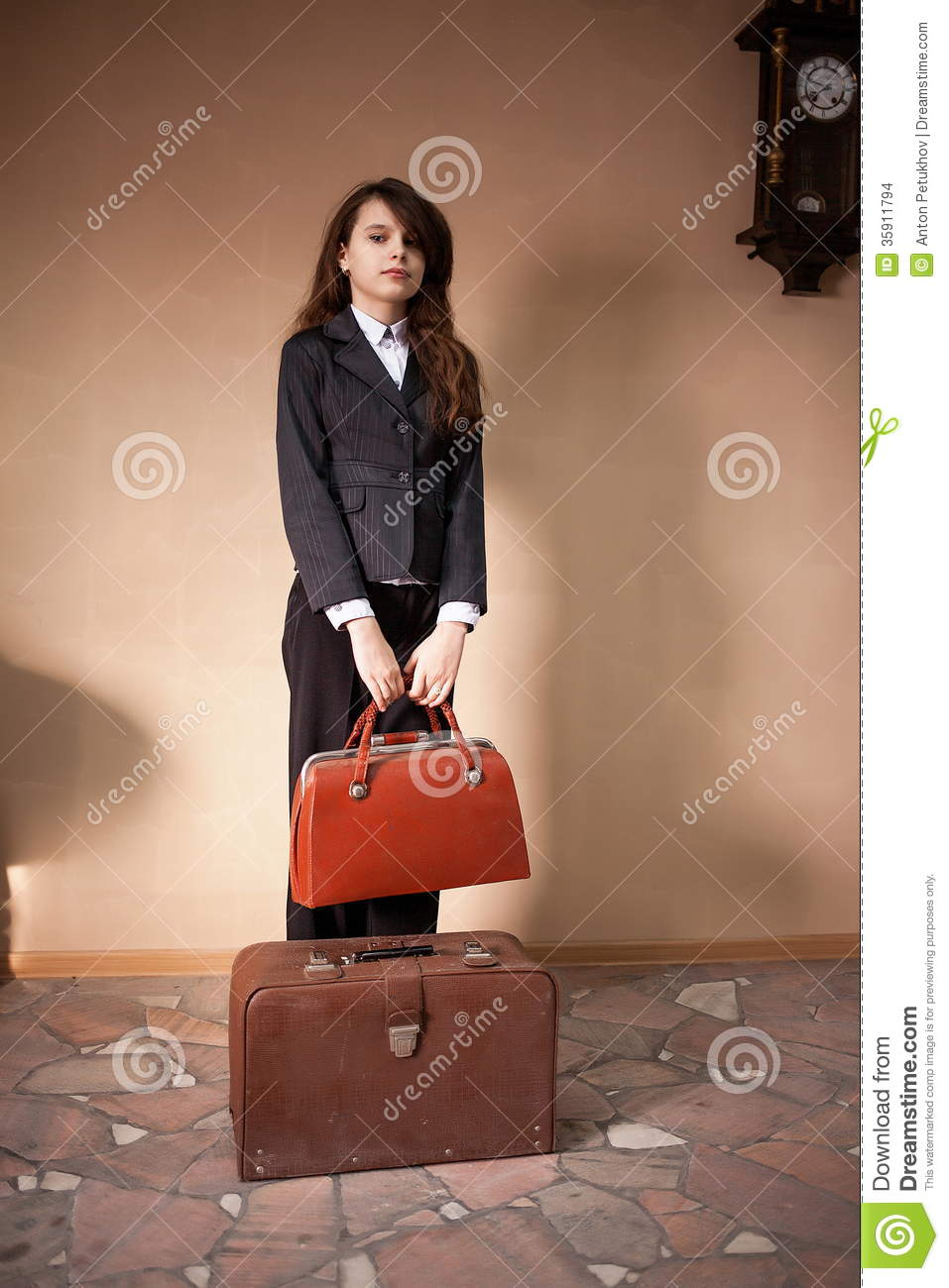 Girl Bag And Suitcase Stock Image