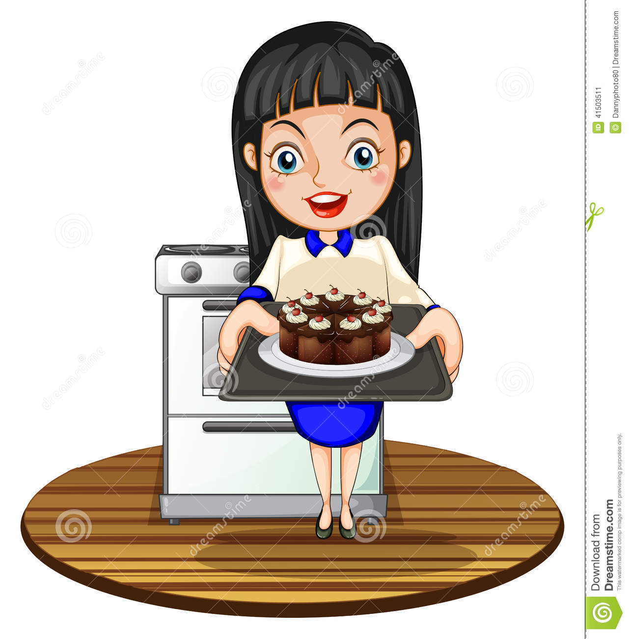 A Girl Baking A Cake Stock Vector Illustration Of Edible