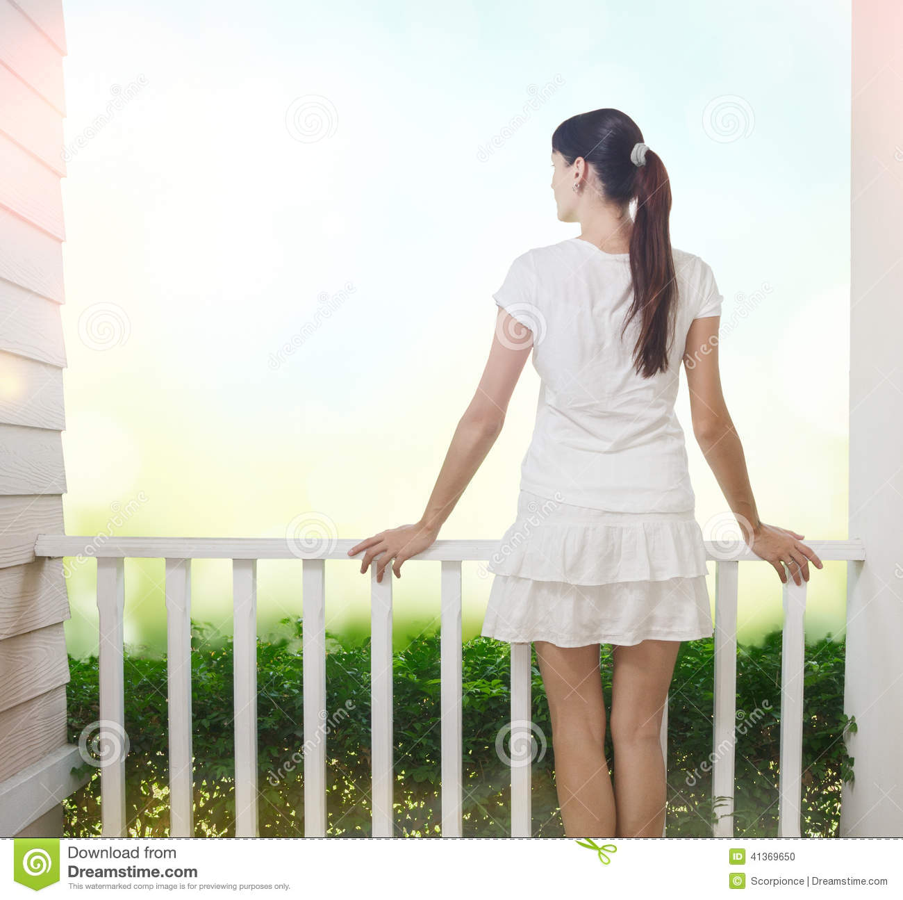 Girl on balcony stock photo image of bright filtered for Balcony models