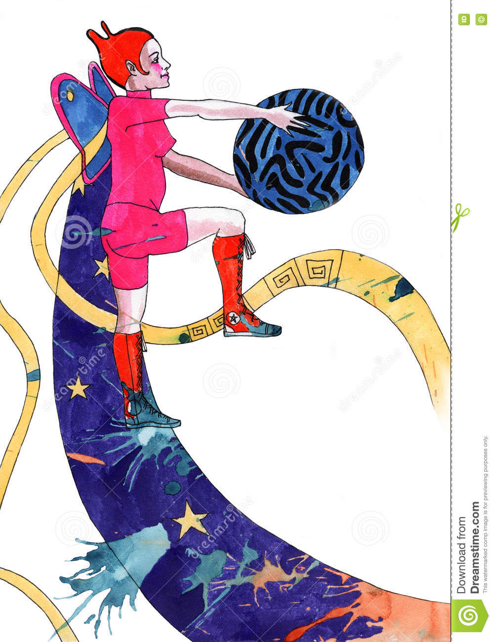 Girl With Ball Stock Illustration Illustration Of Detail 78510414