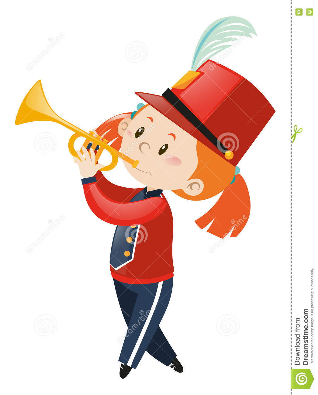 Girl In Band Playing Trumpet Stock Vector - Illustration ...