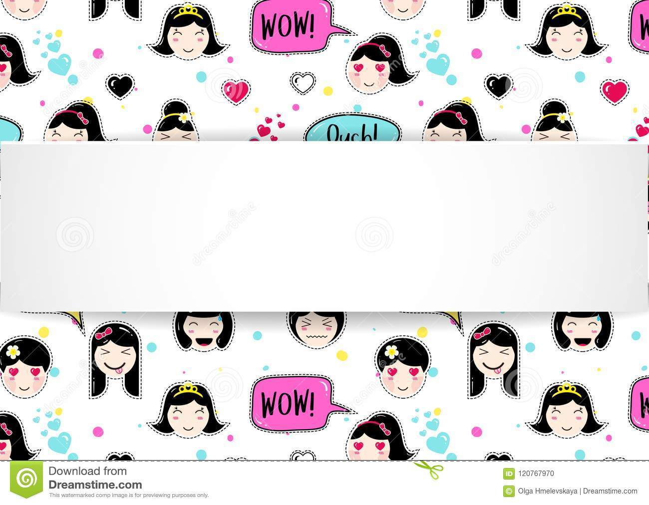 Girl Banner With Anime Emoji Pattern Cute Stickers With Emotico