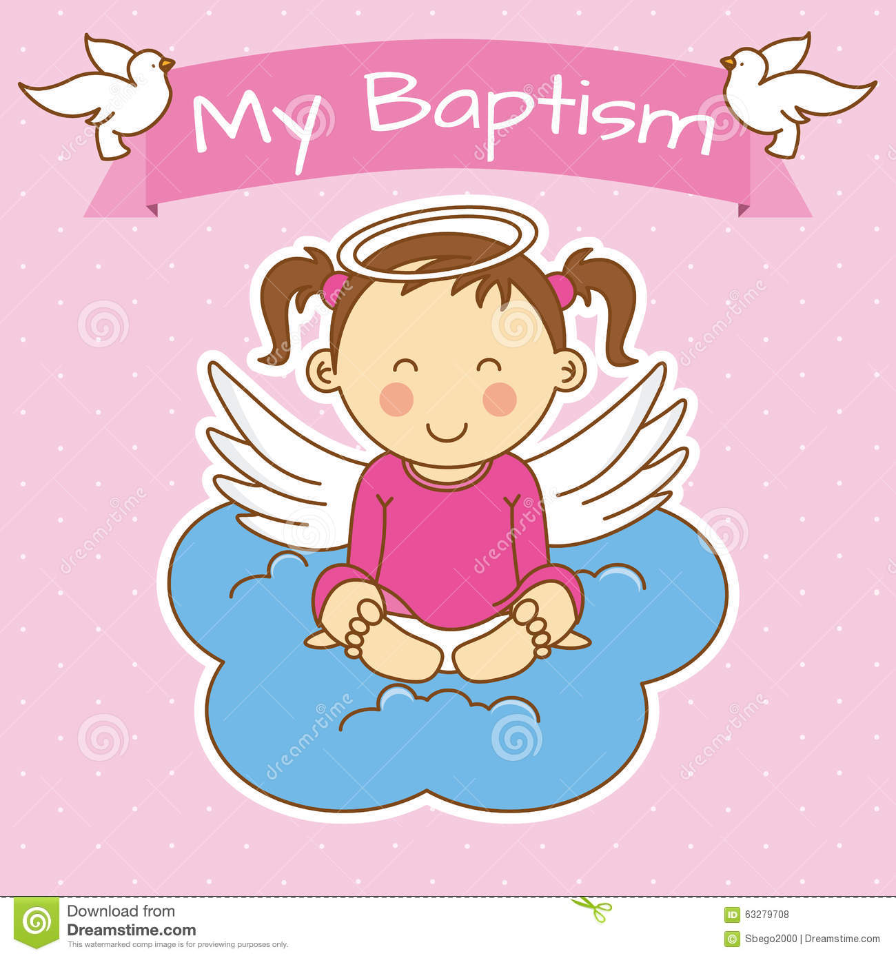 Girl Baptism Stock Vector - Image: 63279708