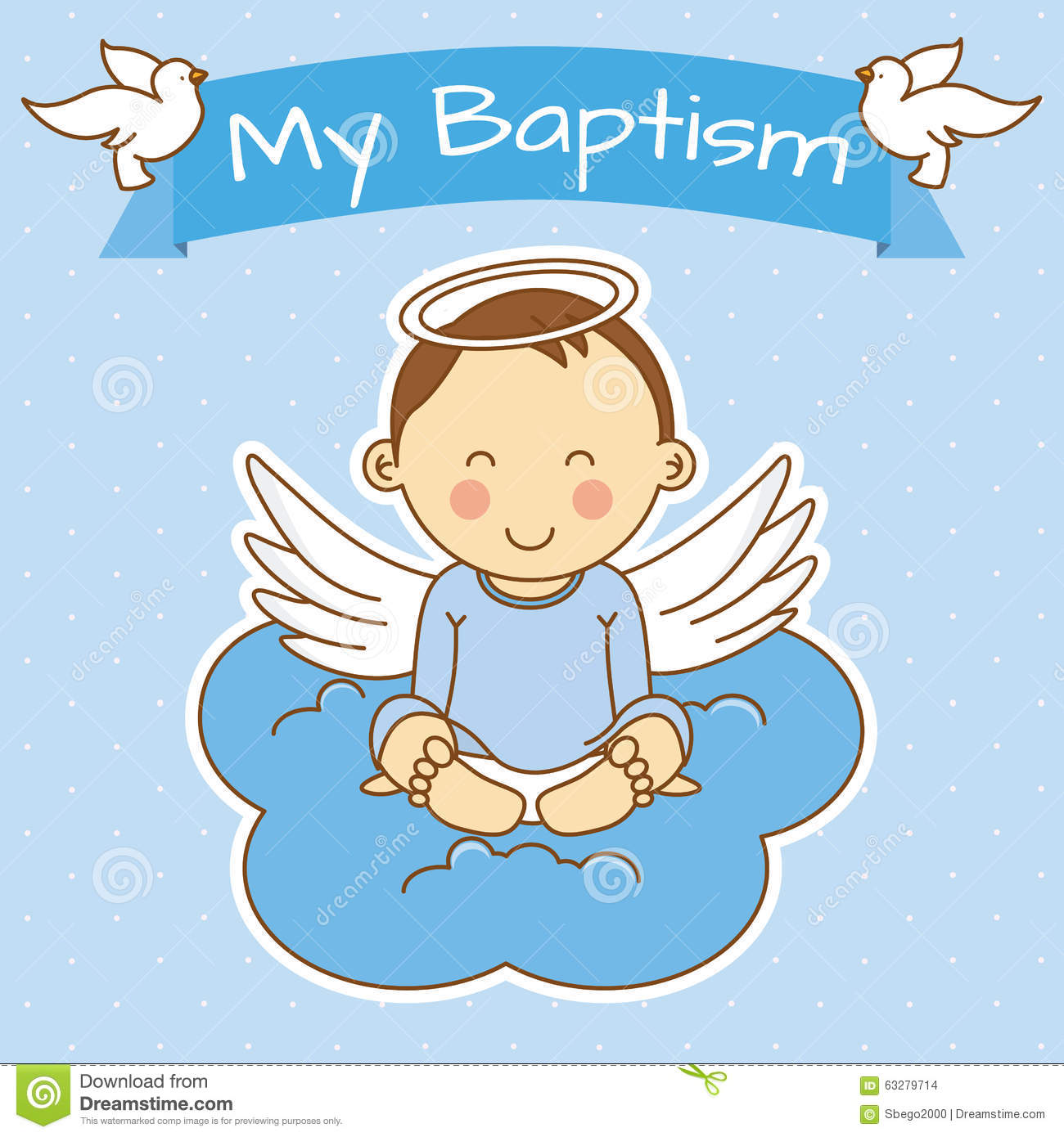 Girl Baptism Stock Vector Image 63279714