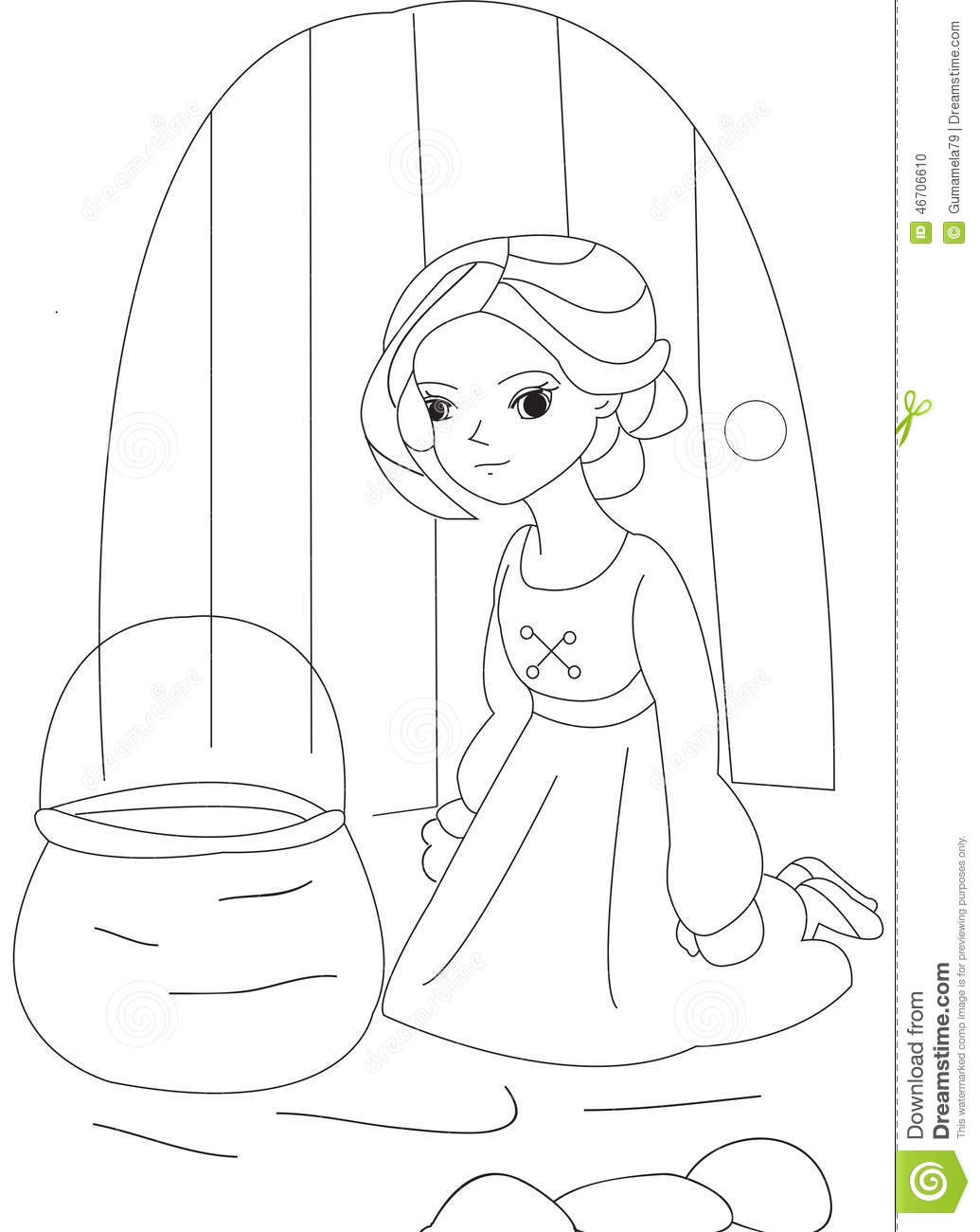 girl with a basket coloring page stock illustration illustration