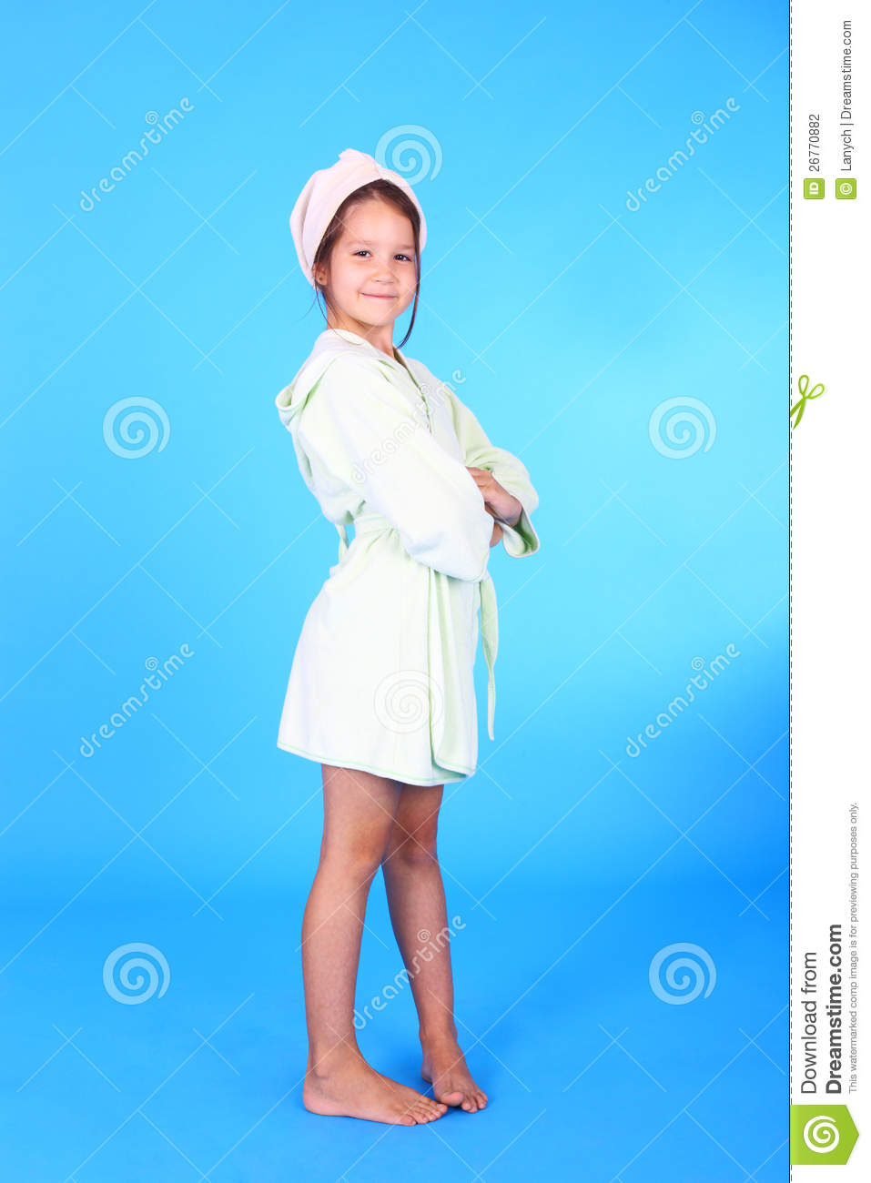 Girl in the bath robe stock photo. Image of infant, health ...