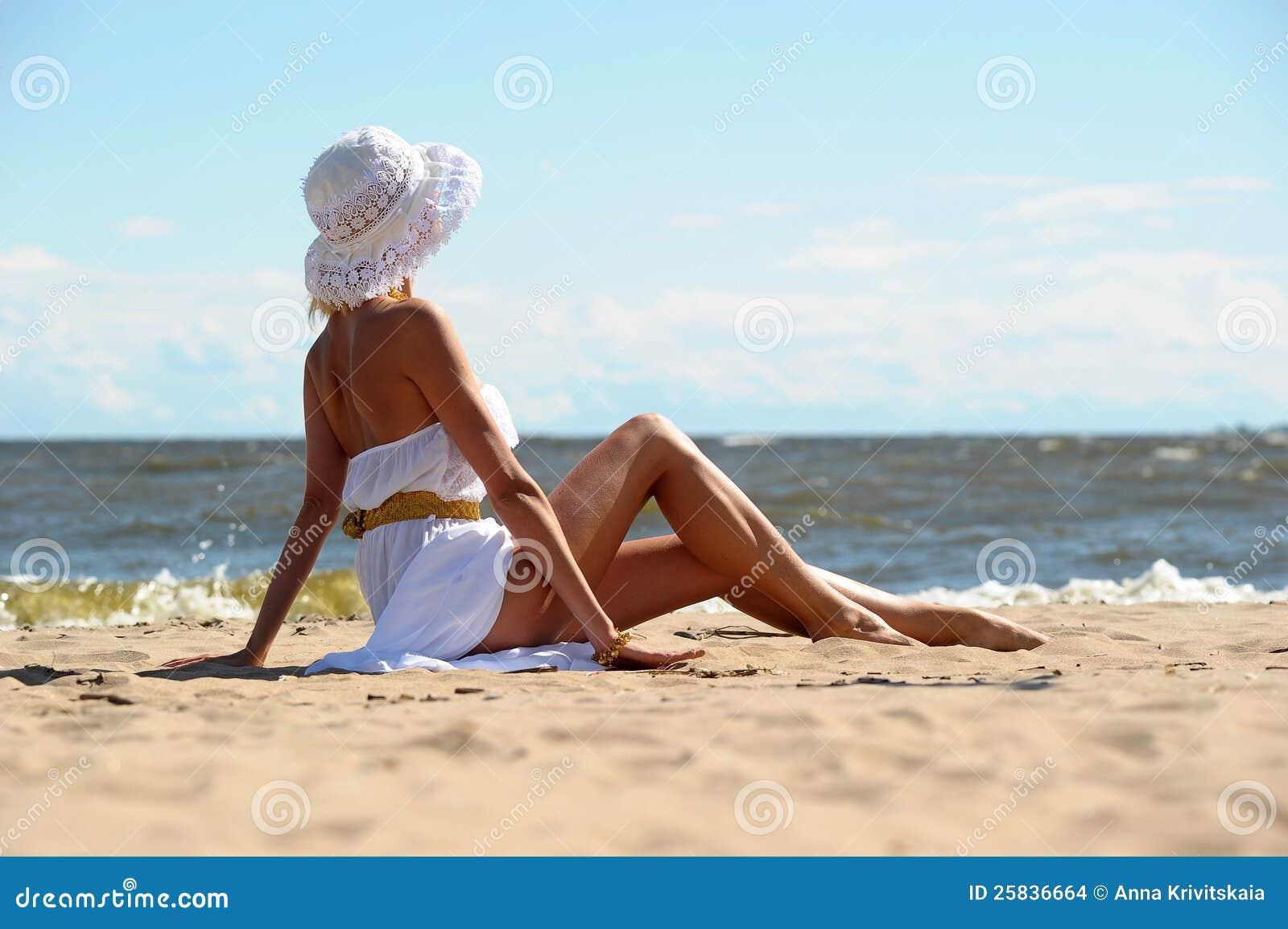 The girl on the beach stock photo. Image of female 4cf8e7494b