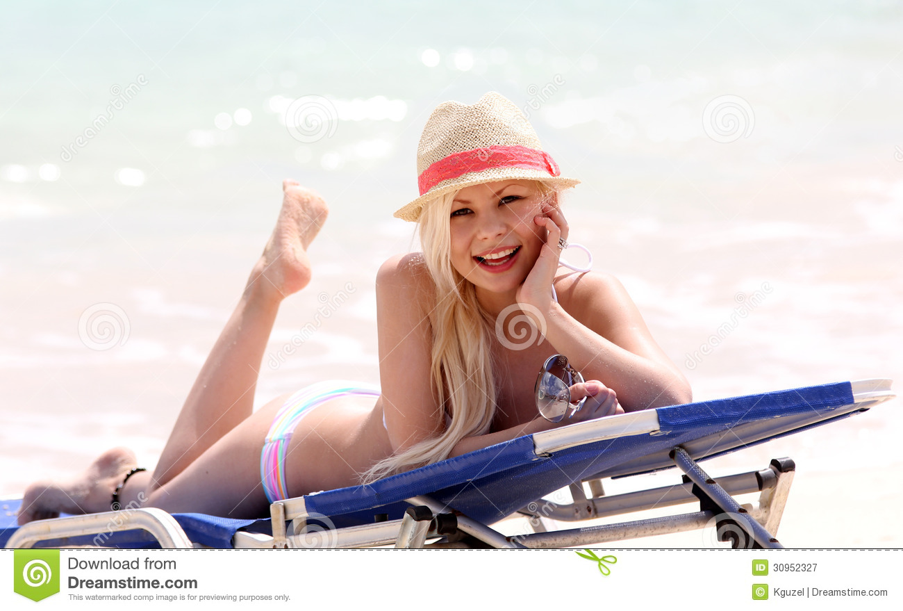 Girl On The Beach. Glamorous Blonde On Vacation. Happy ...
