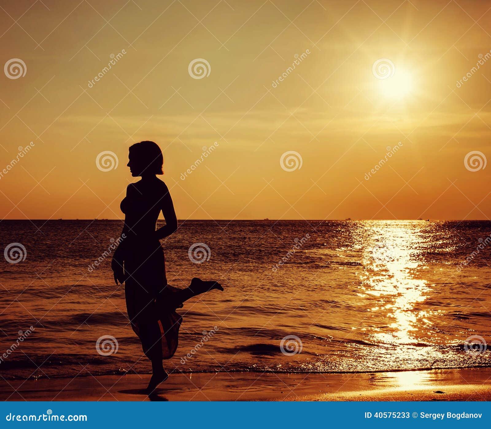 Beautiful Woman Face Over Beach Sunset Stock Image: Girl On Beautiful Beach During Sunset Stock Image