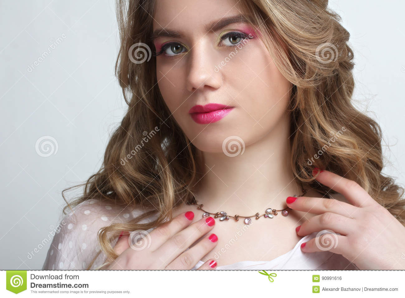 Girl with a beautiful bright make up stock photo image for What make a beautiful