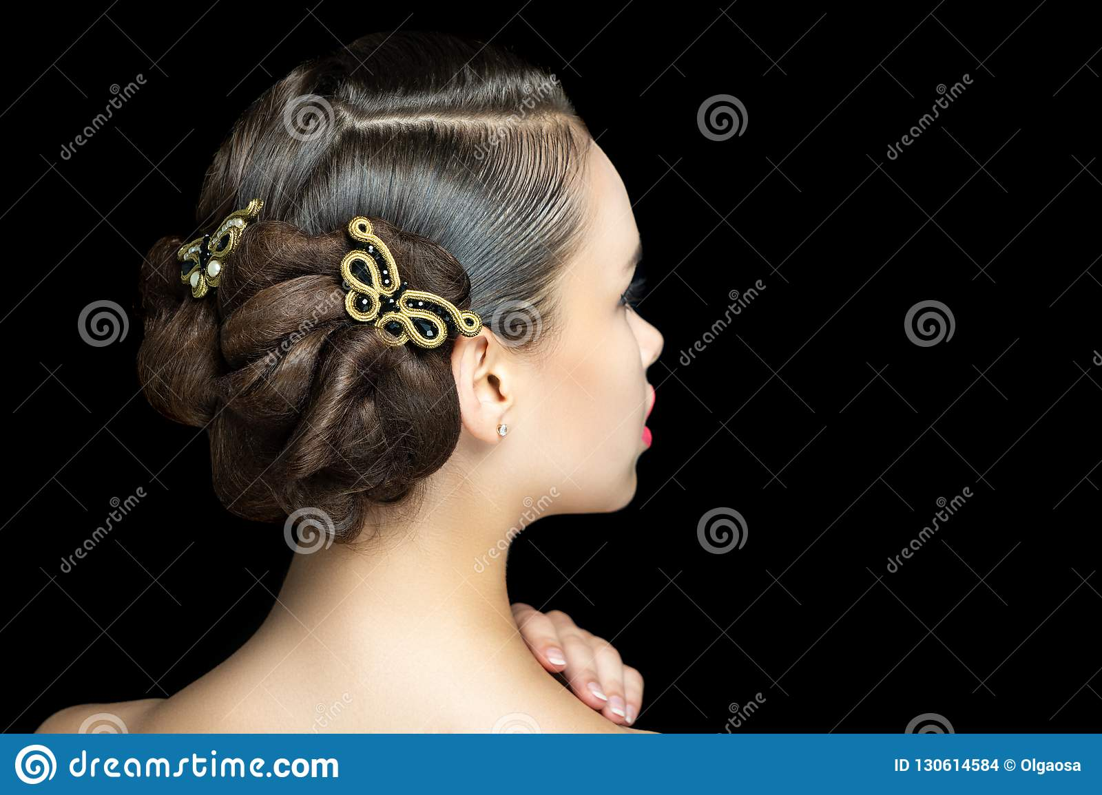 Girl With Beautiful Evening Hairstyle Stock Photo Image Of Bridal