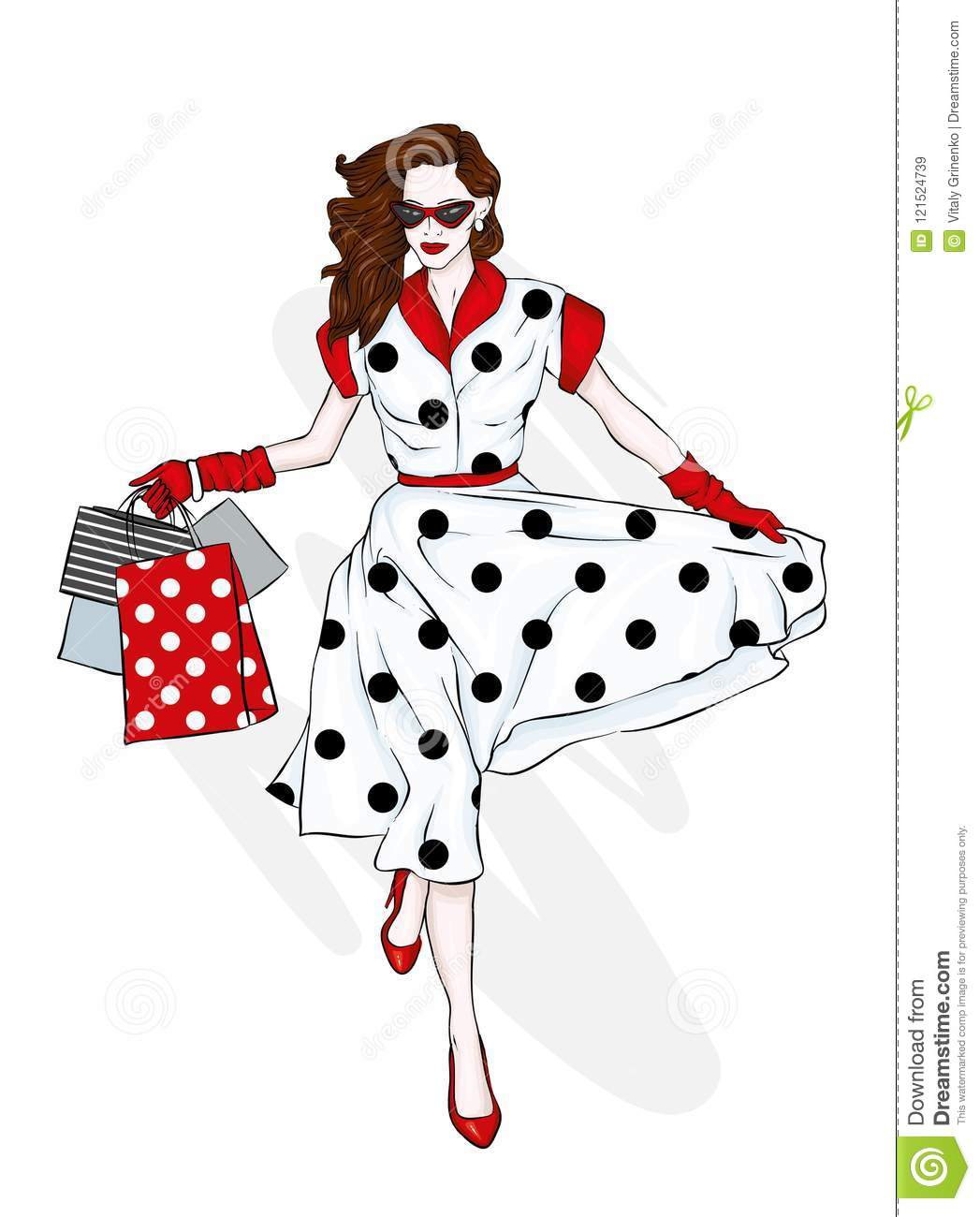 73440ad23a A girl in a beautiful vintage dress with shopping bags. Vector  illustration. Clothing and accessories