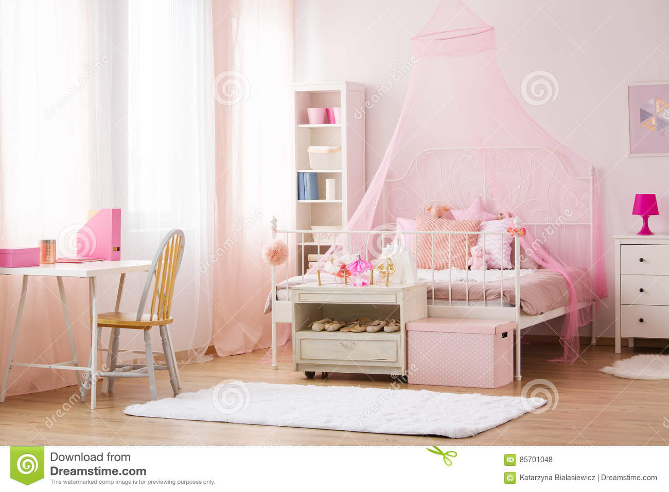 Girl Bedroom With Canopy Bed Stock Photo - Image of ...