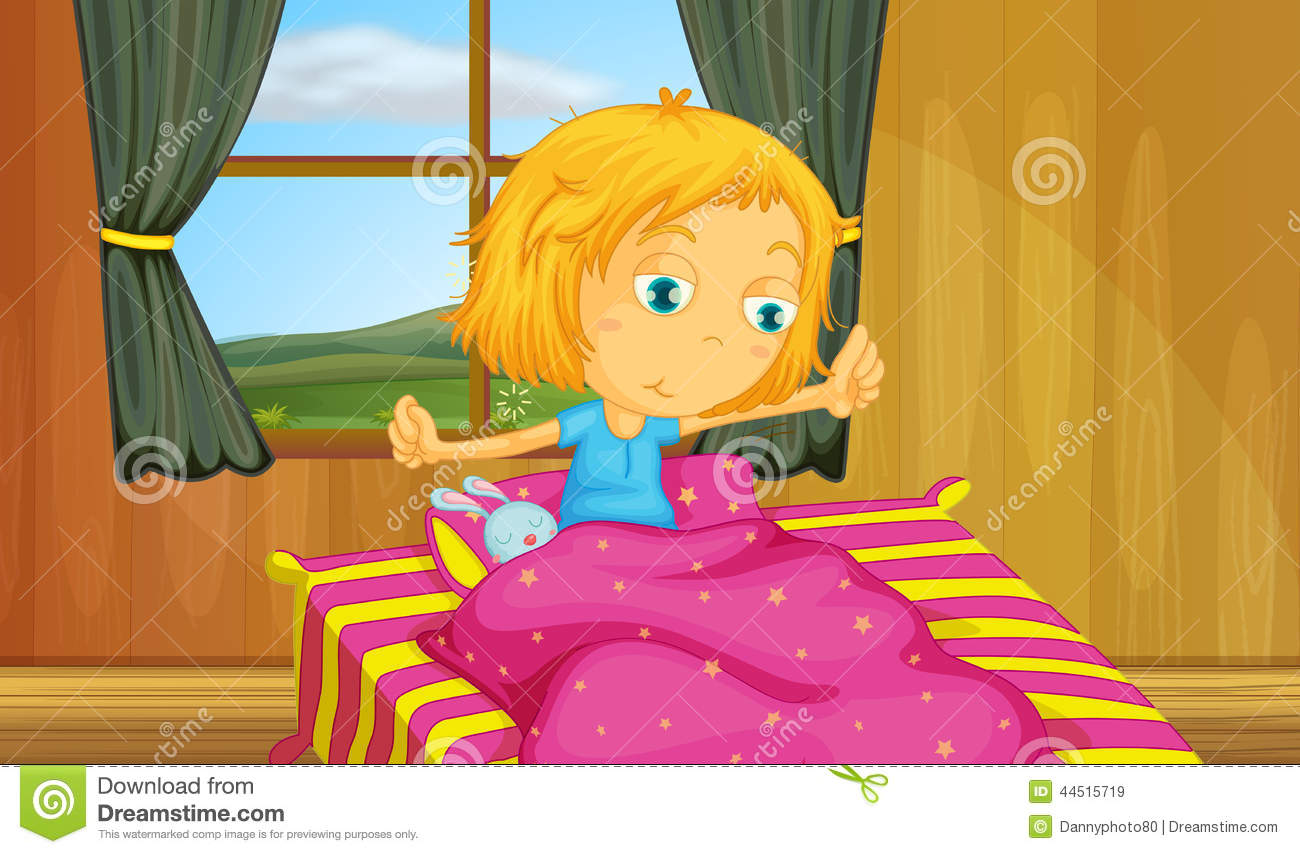 Girl And Bedroom Stock Vector - Image: 44515719