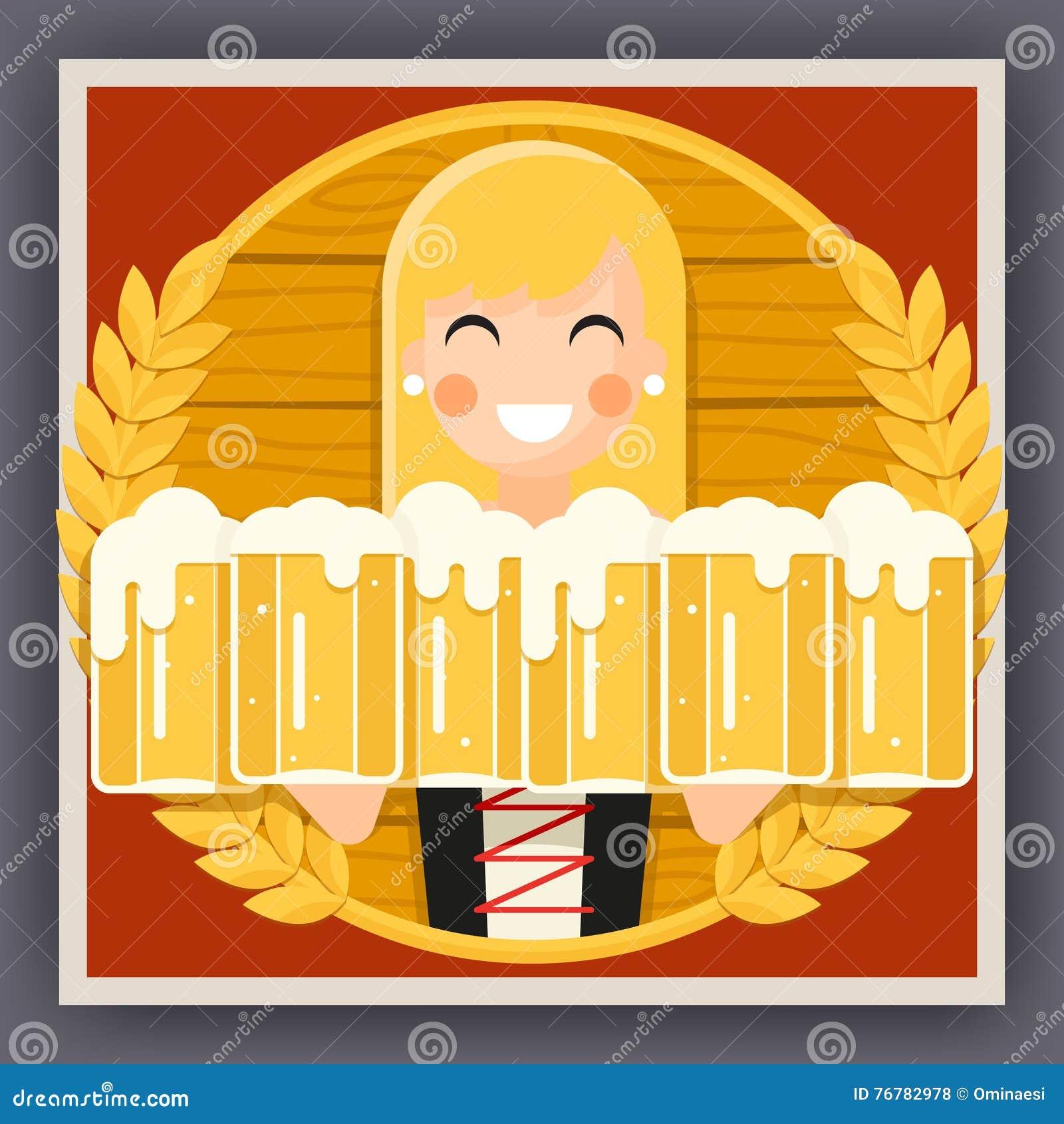 Girl with Beer Mug Oktoberfest Poster Festival Celebration Symbol Flat Design Vector Illustration