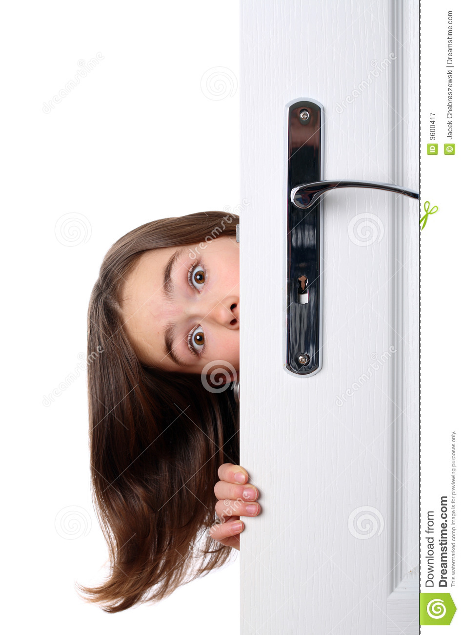 Girl Behind The Door Royalty Free Stock Photography - Image: 3600417