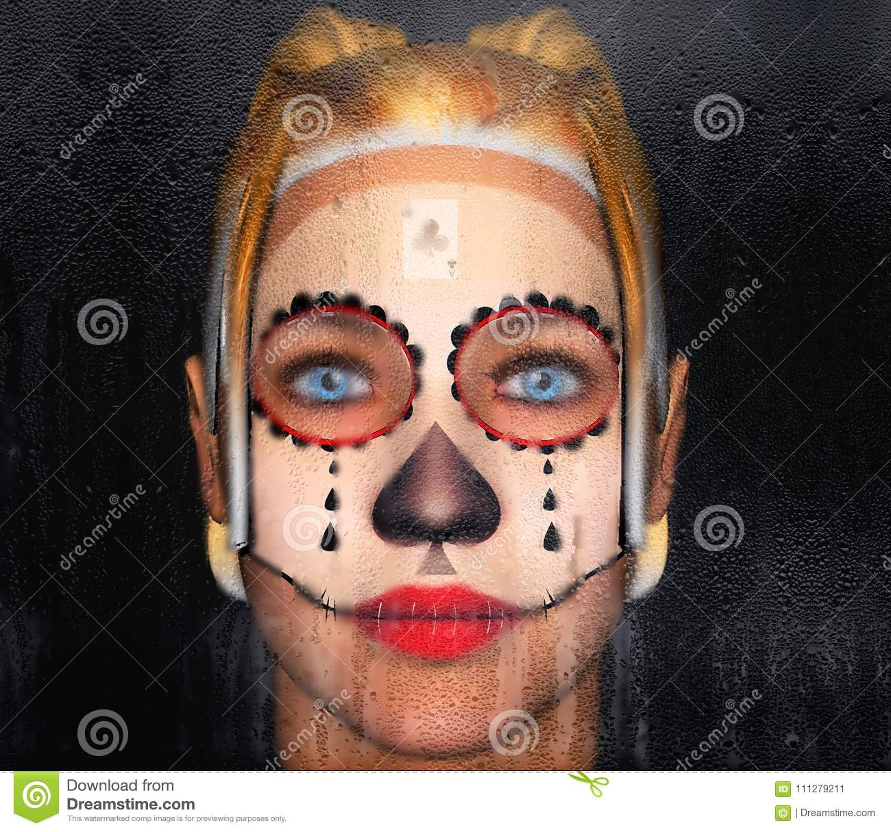 bca61c972cd11 The girl behind the glass with a painted face tattoo Chicano. 3D  Illustration.