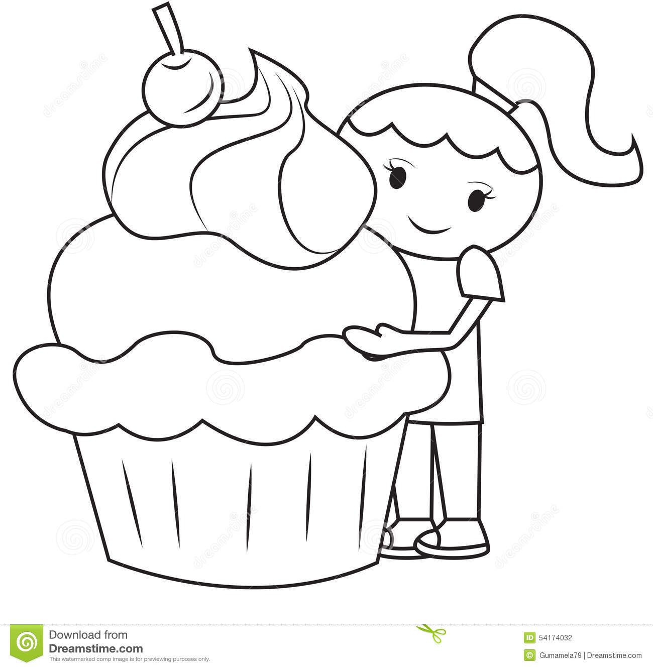 The Girl And The Big Cupcake Coloring Page Stock Illustration ...